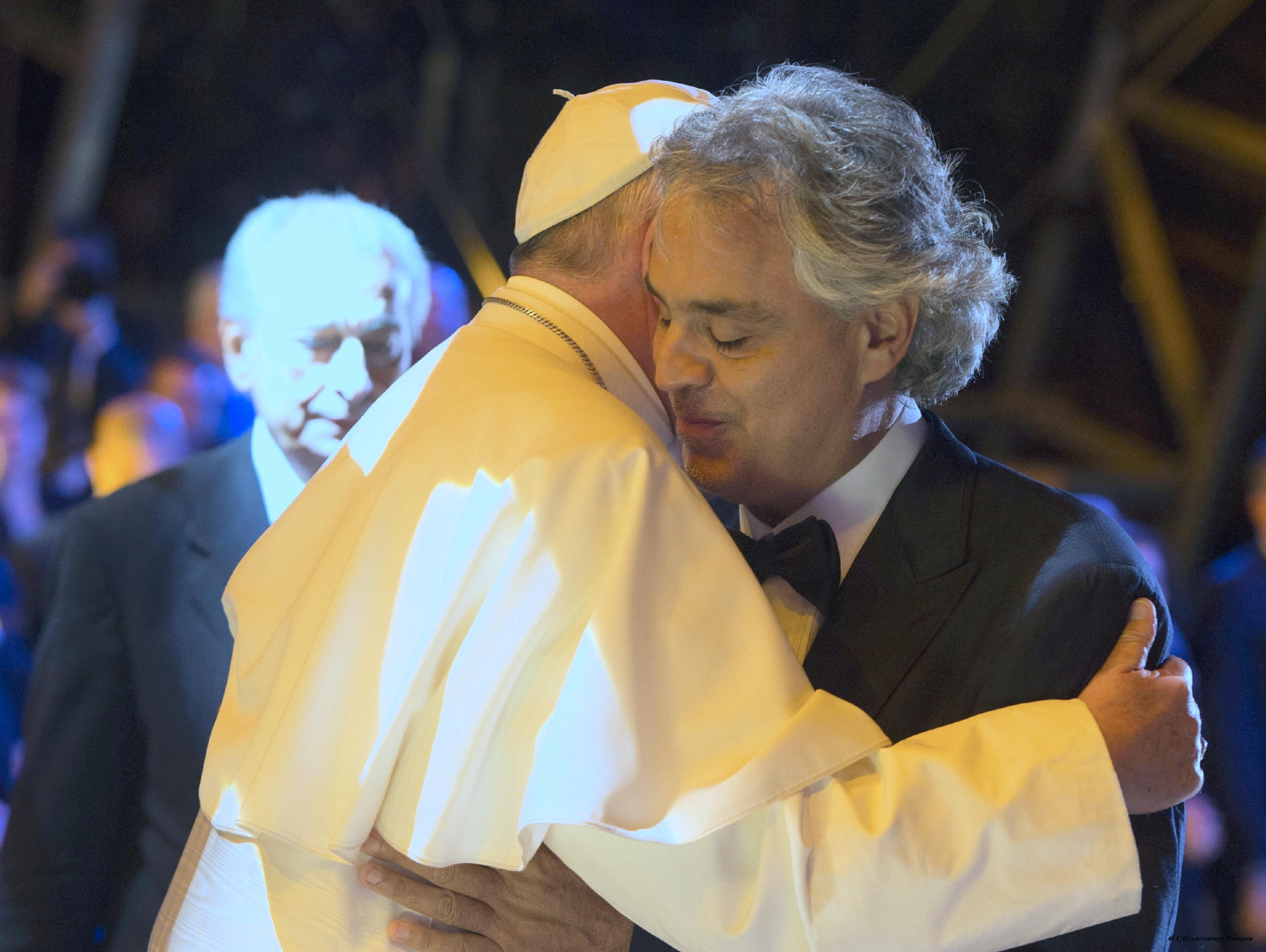 Pope Francis with Andrea Bocelli in Philadelphia