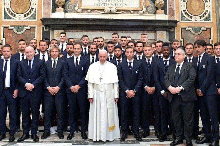 El Papa con la Juventus y la Lazio (Osservatore © Romano)