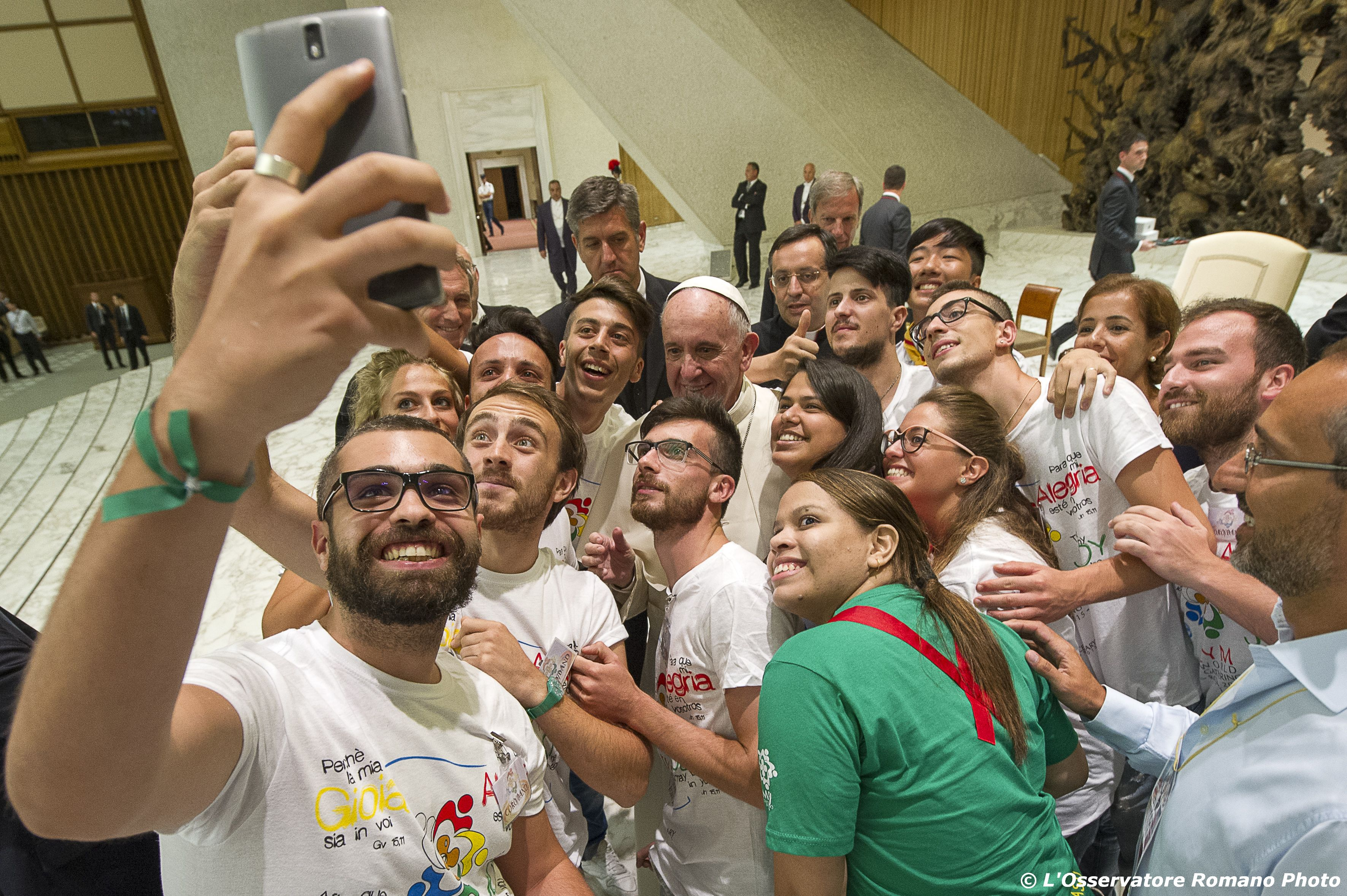Pope Francis with members of the Eucharistic Youth Movement in the Paul VI Audience Hall