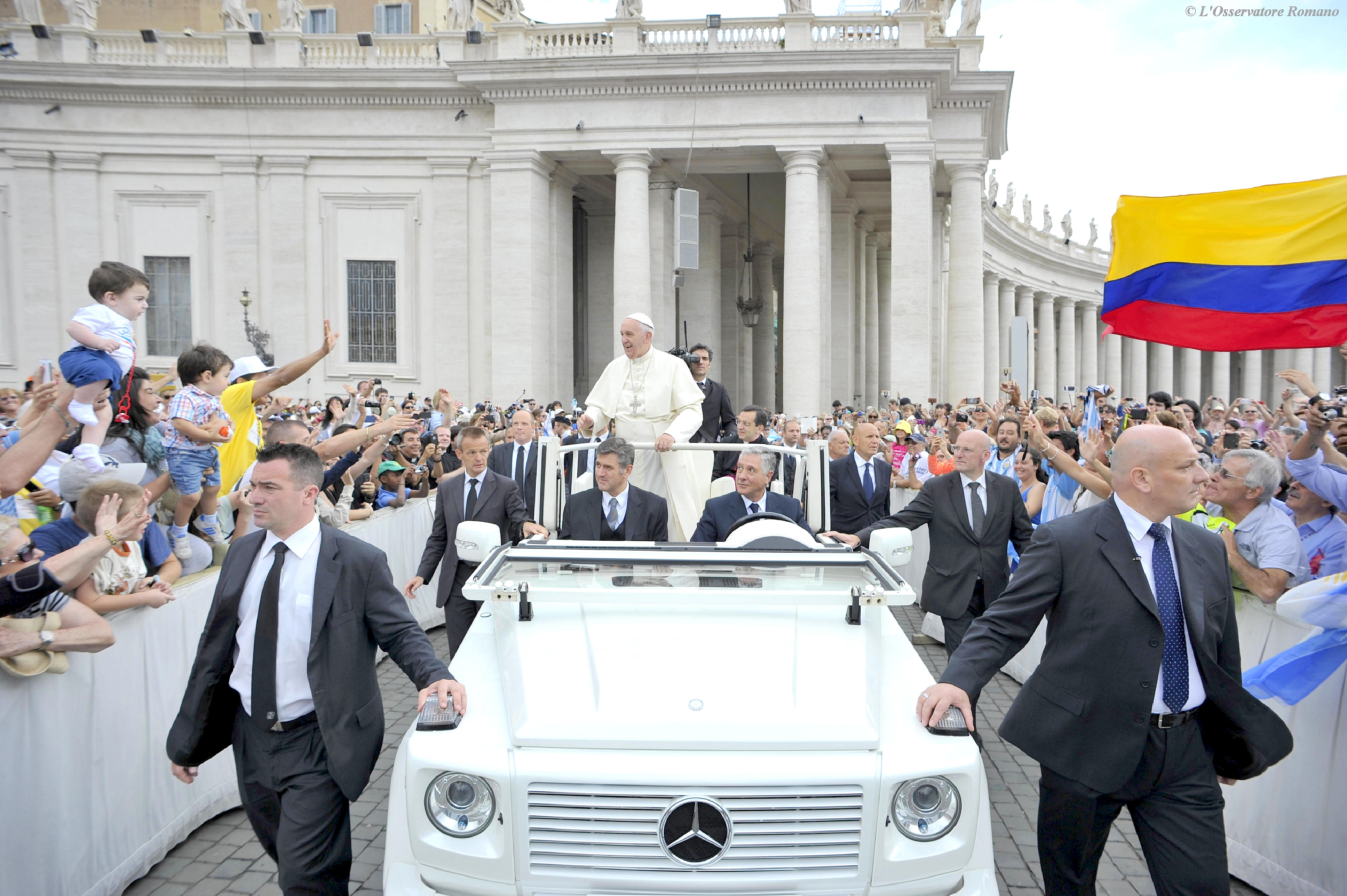 Pope Francis greets the faithful at his weekly general audience