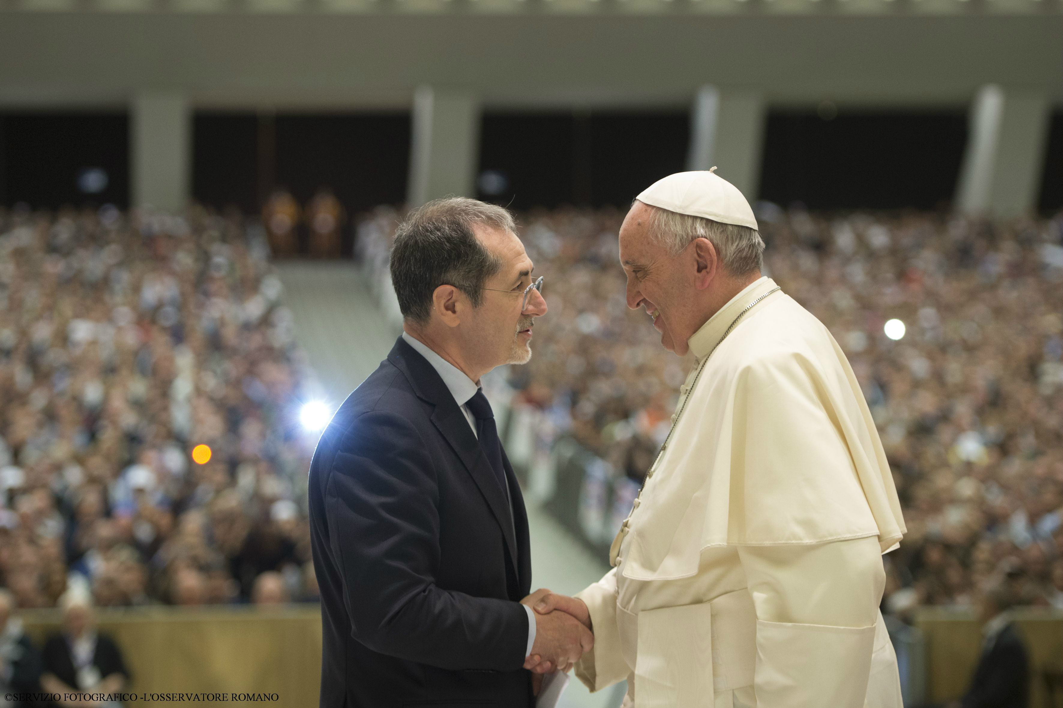 Pope Francis greets the national president of the ACLI
