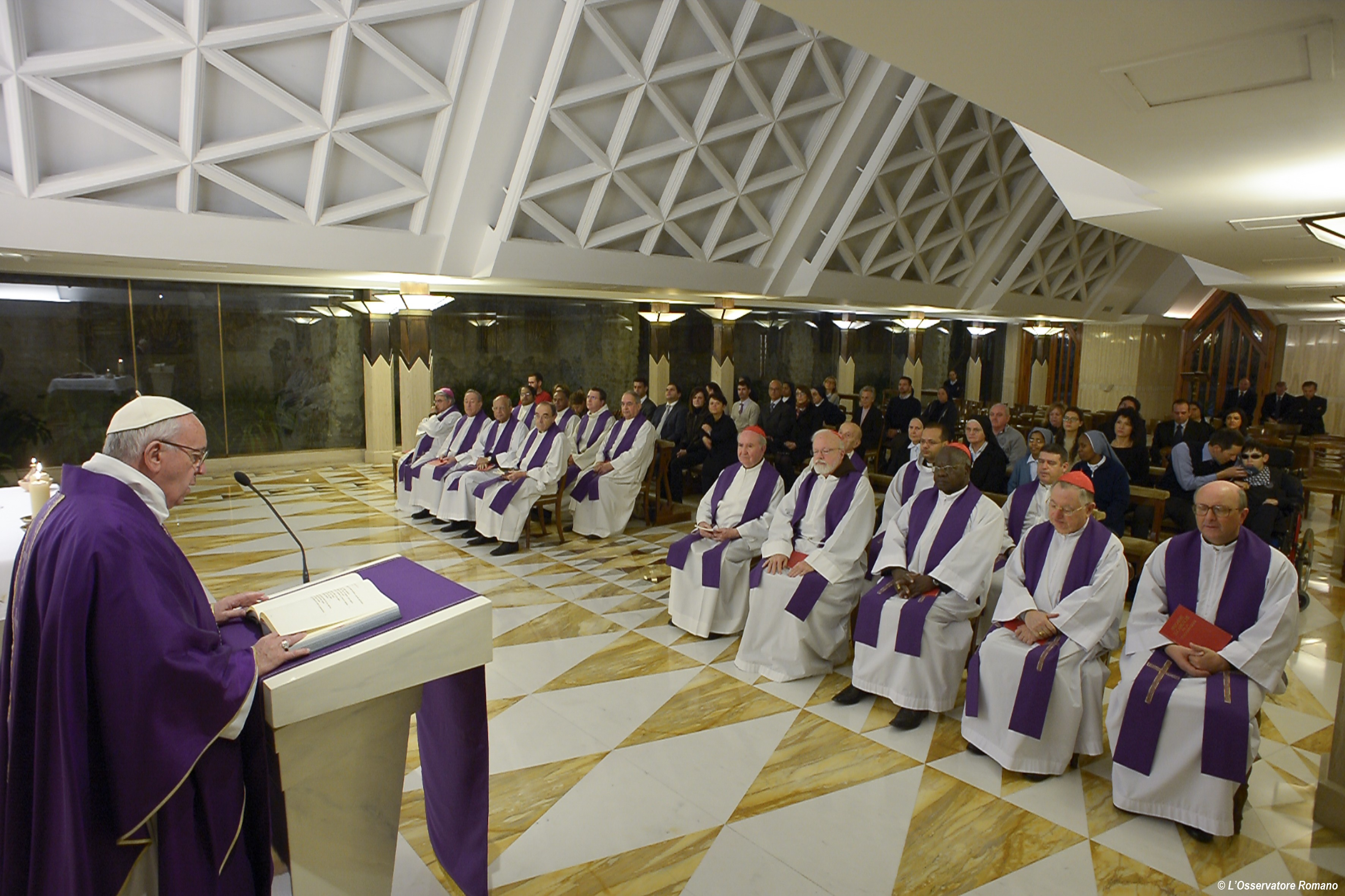 Pope Francis during today's Mass in Santa Marta