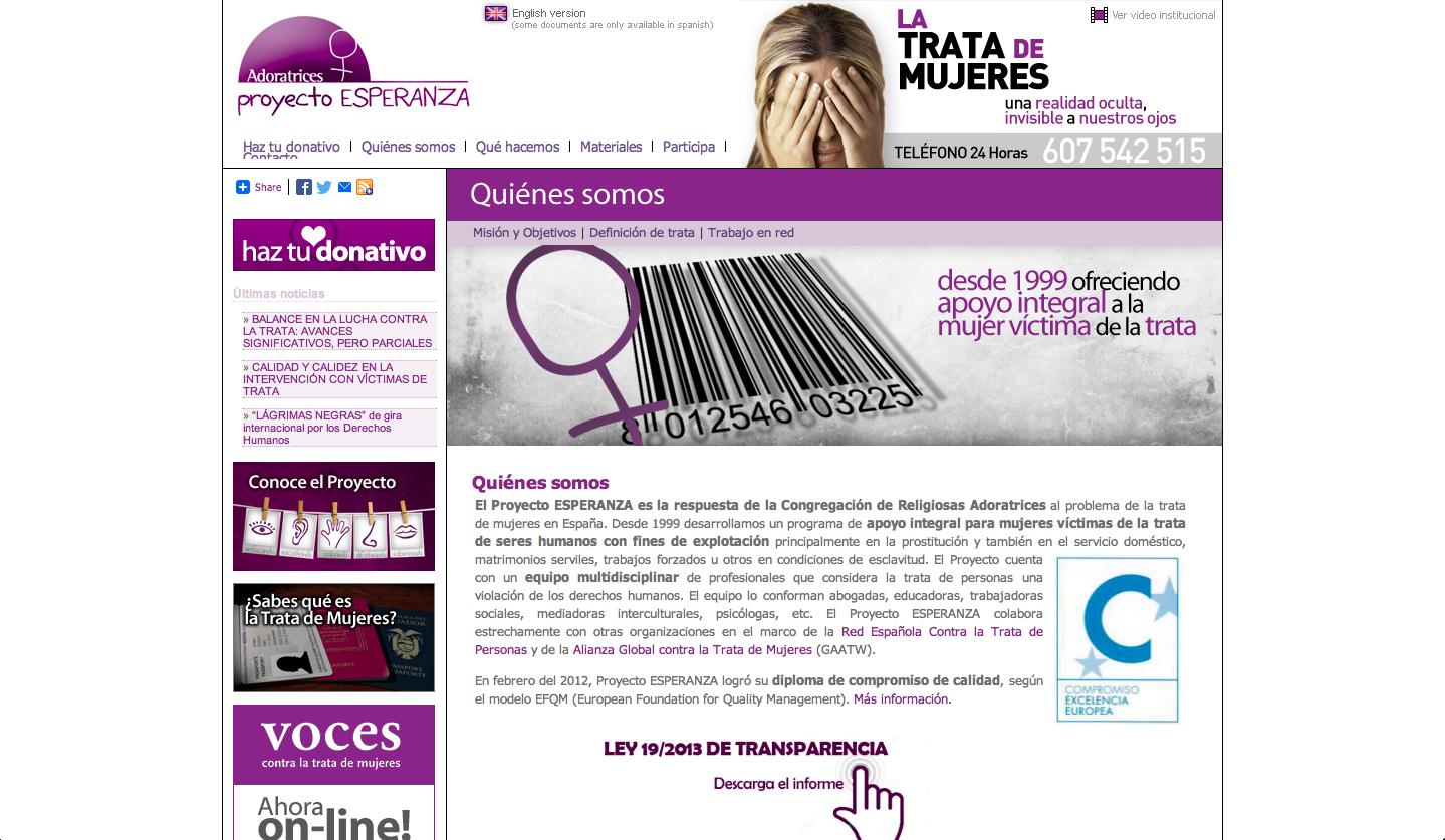 Website of Proyecto Esperanza