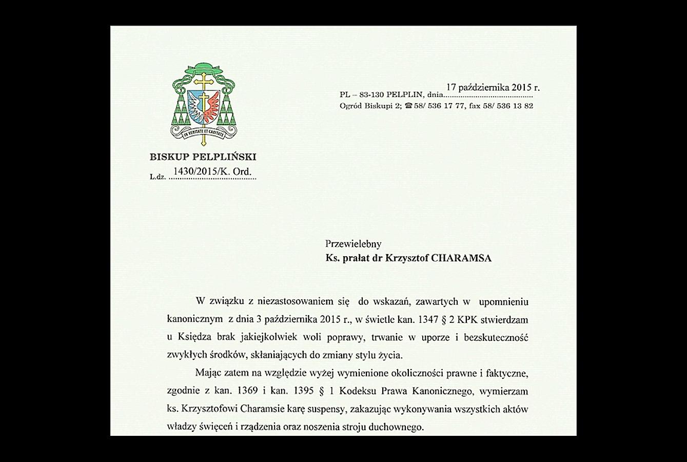 Letter of the Bishop of Pelplin
