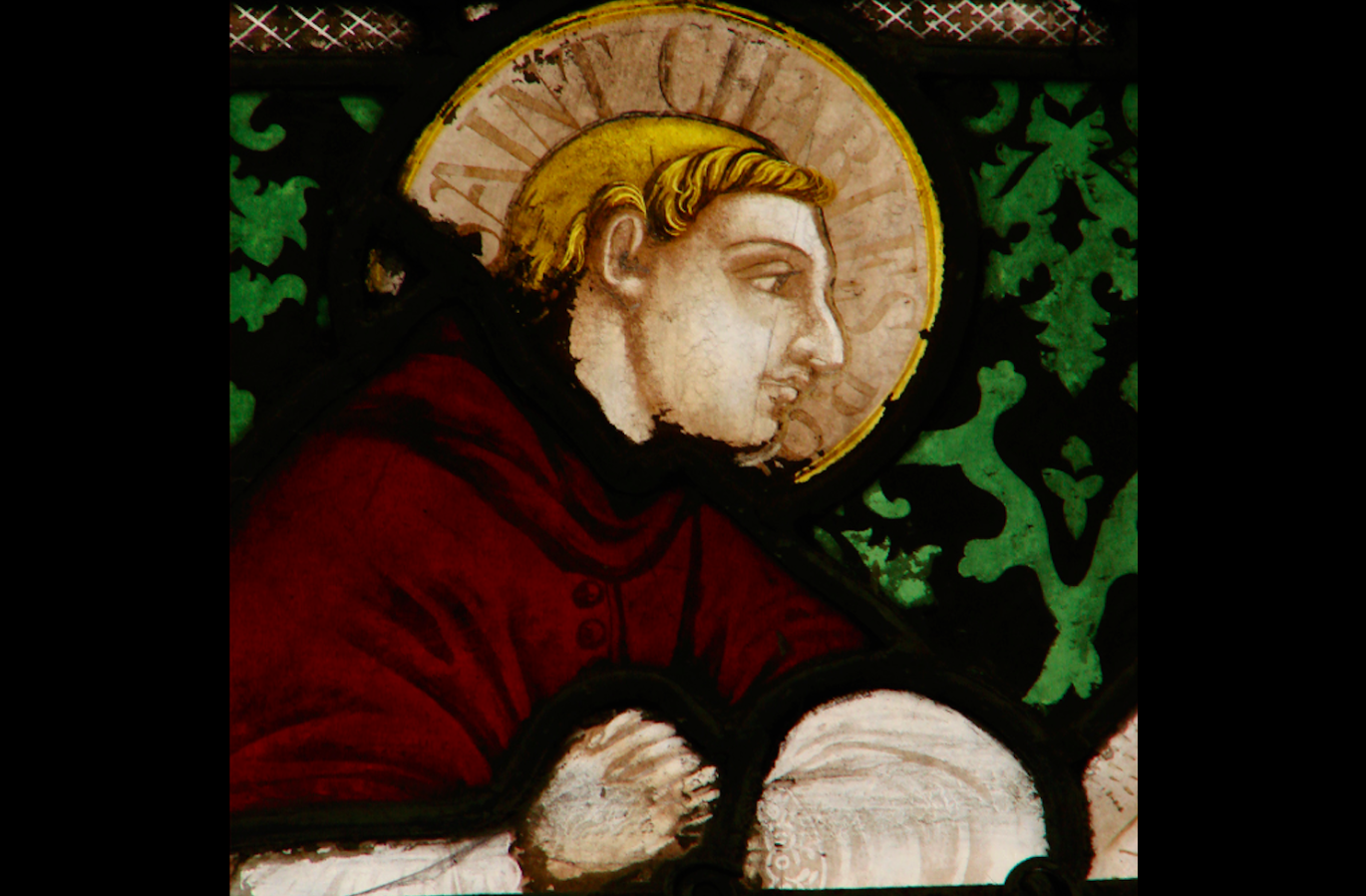 Depiction of Charles Borromeo in a stained glass window