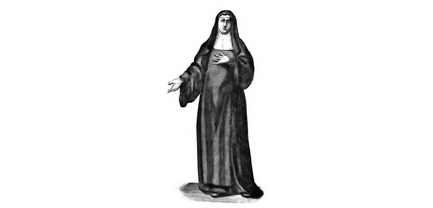 An English engraving of a Benedictine nun: Sr. Maria Fortunata