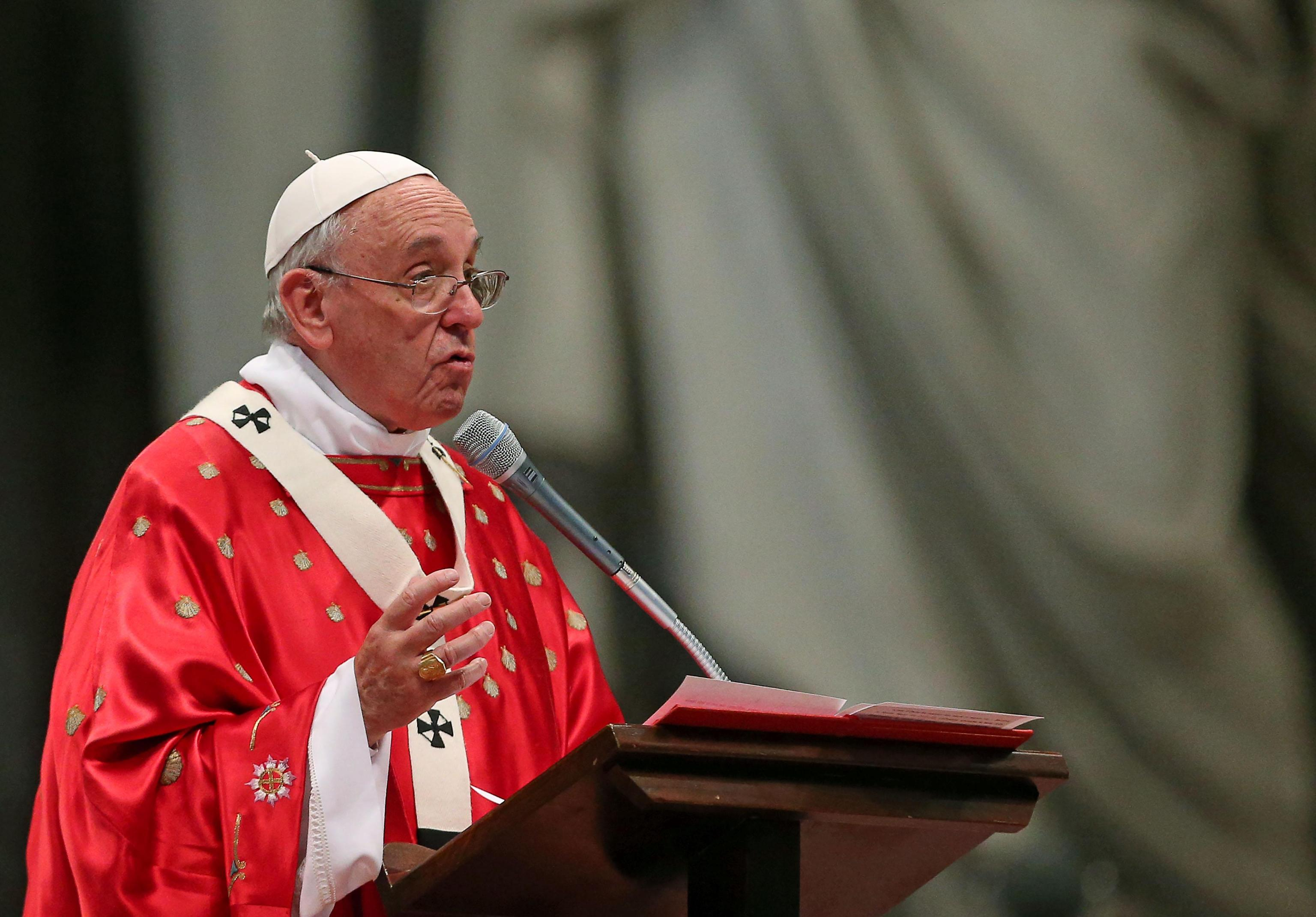 Pope Francis celebrates Pentecost Sunday in the St. Peter's Basilica in Rome