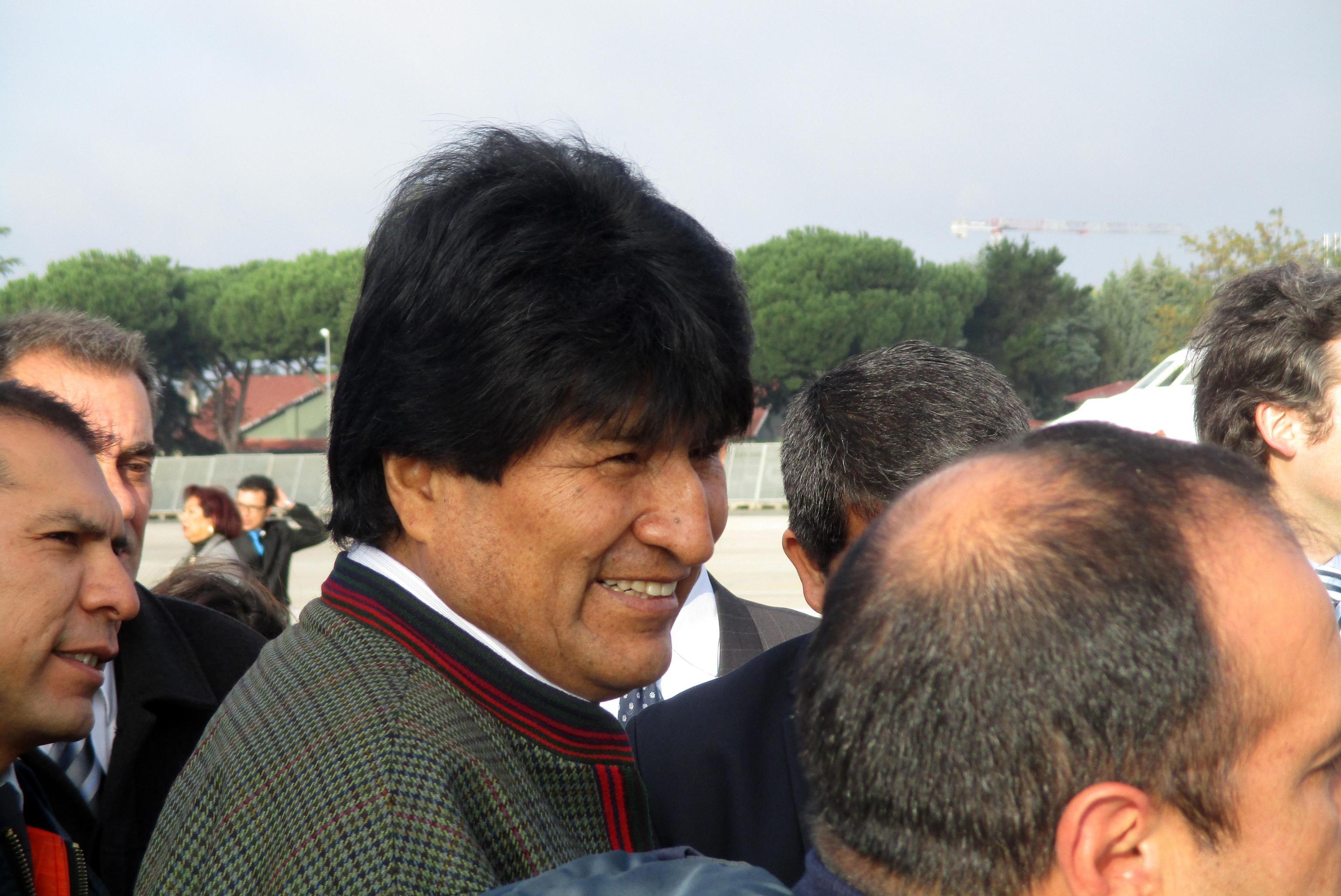 Evo Morales arriving at Rome. Airport of Ciampino - 6 November 2015