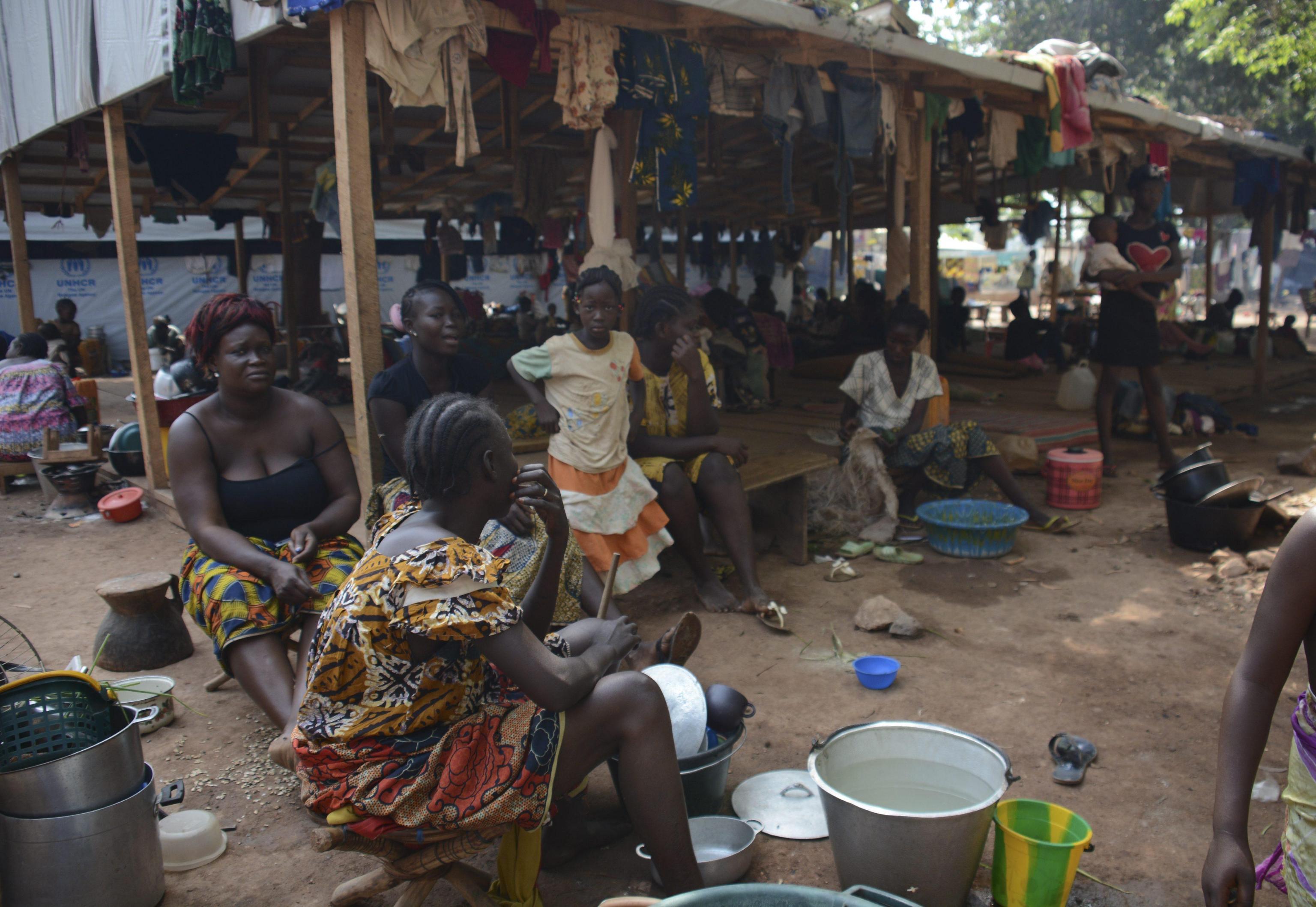 Internally Displaced Person (IDP) women working at Saint Sauveur IDP camp