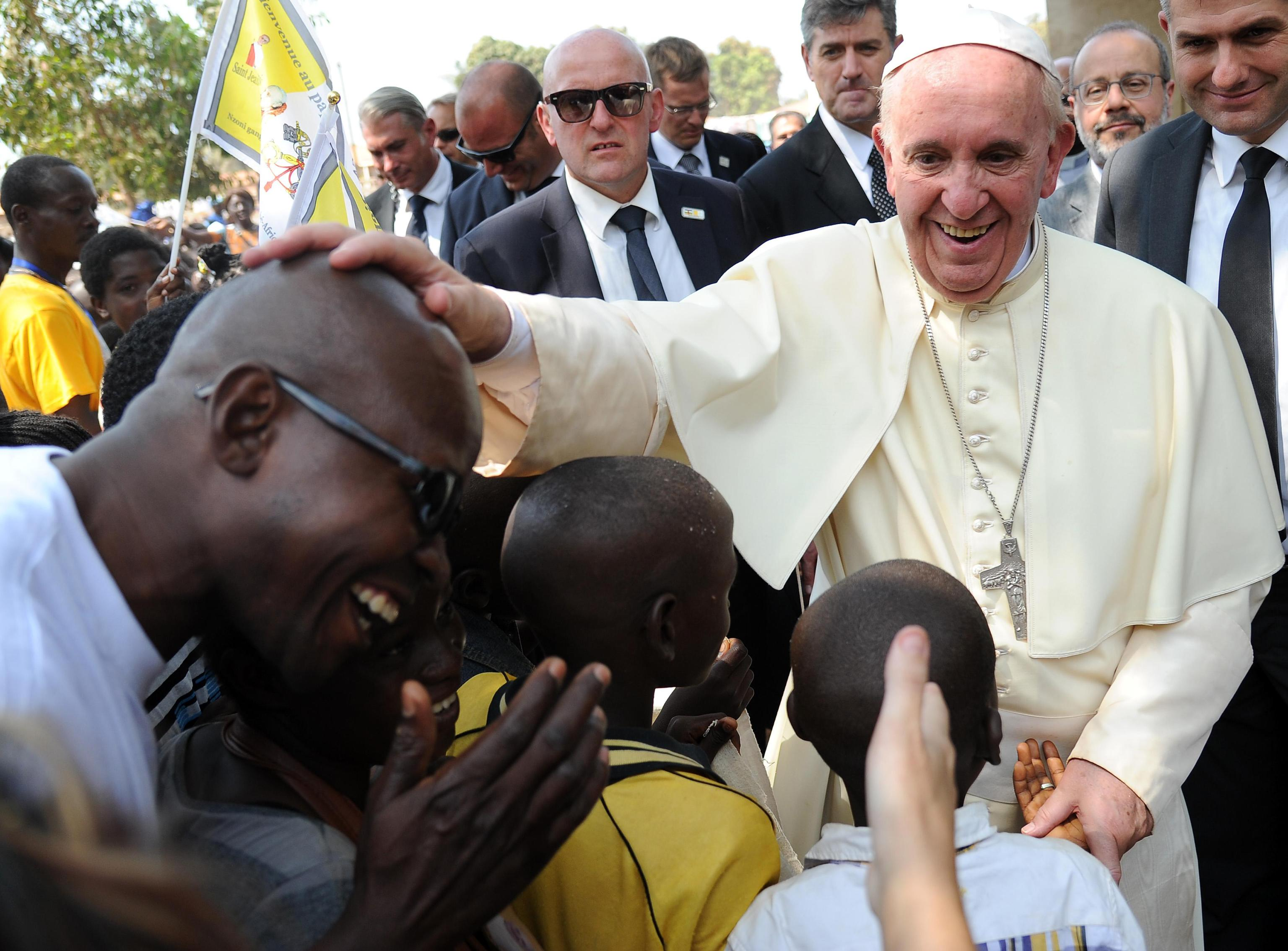 Pope Francis during a visit at the refugee camp of Saint-Sauveur in Bangui