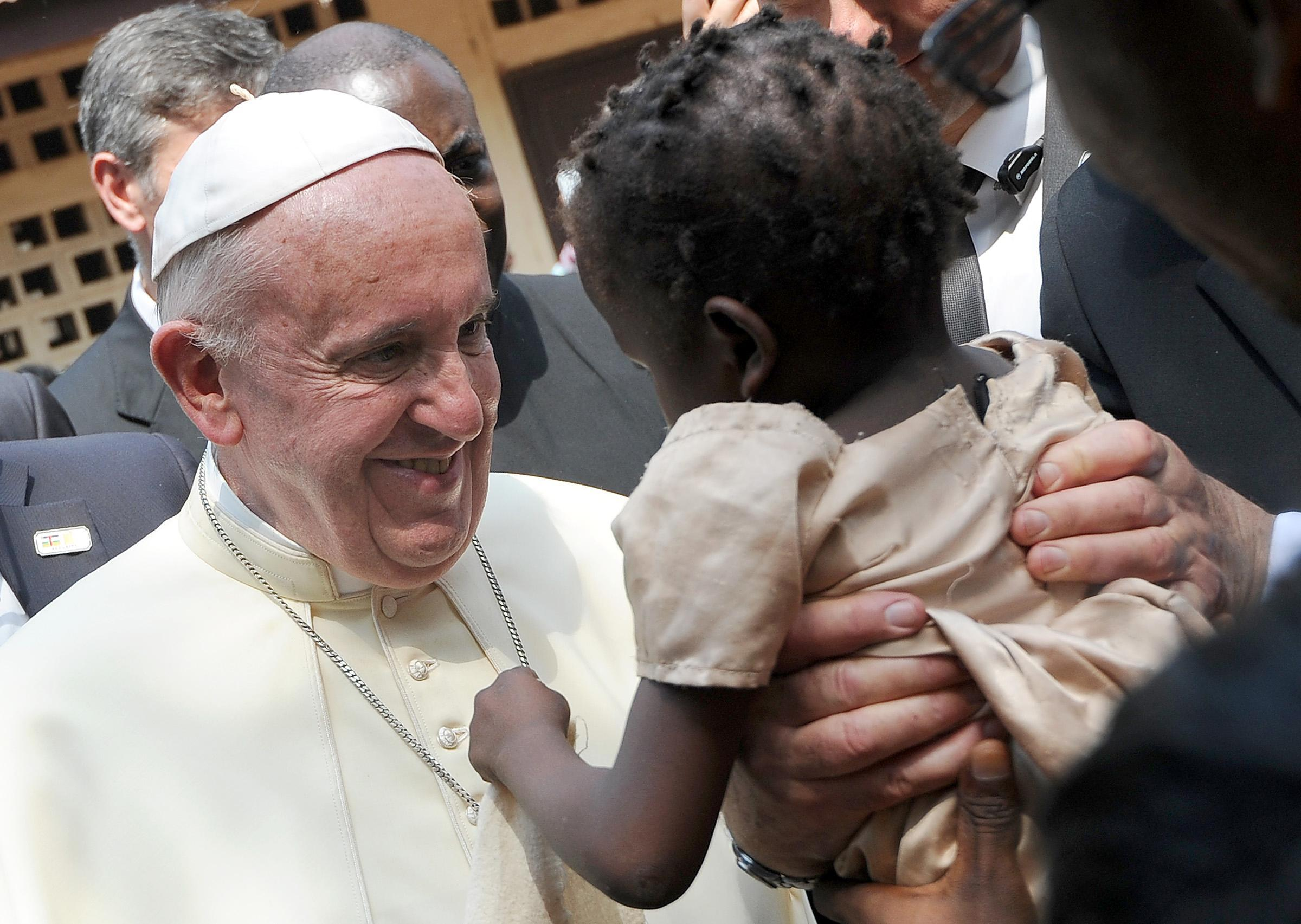 Pope Francis during his visit at the refugee camp of Saint-Sauveur in Bangui
