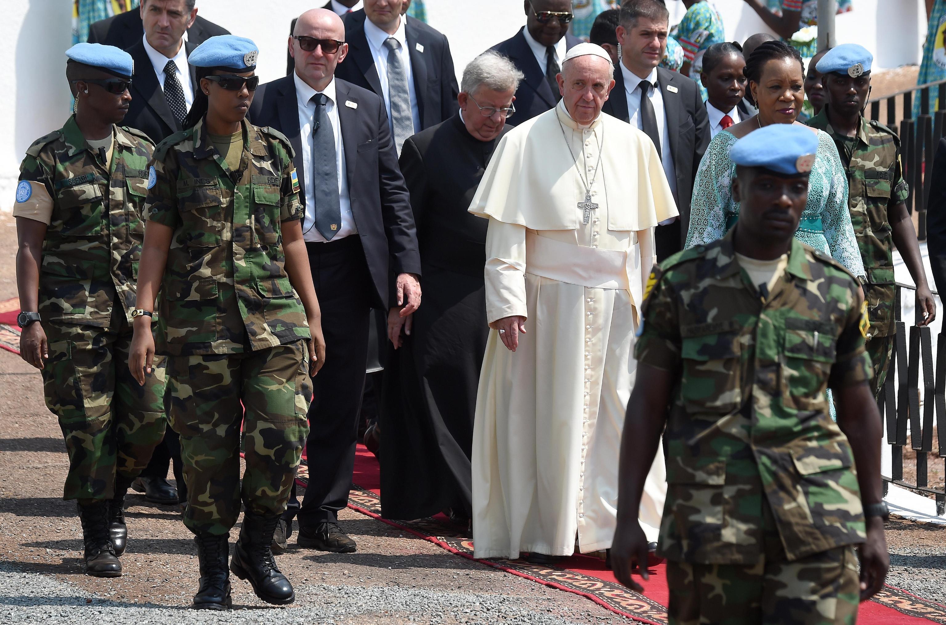 Pope Francis with Central African Republic Presidentad interim  Catherine Samba-Panza
