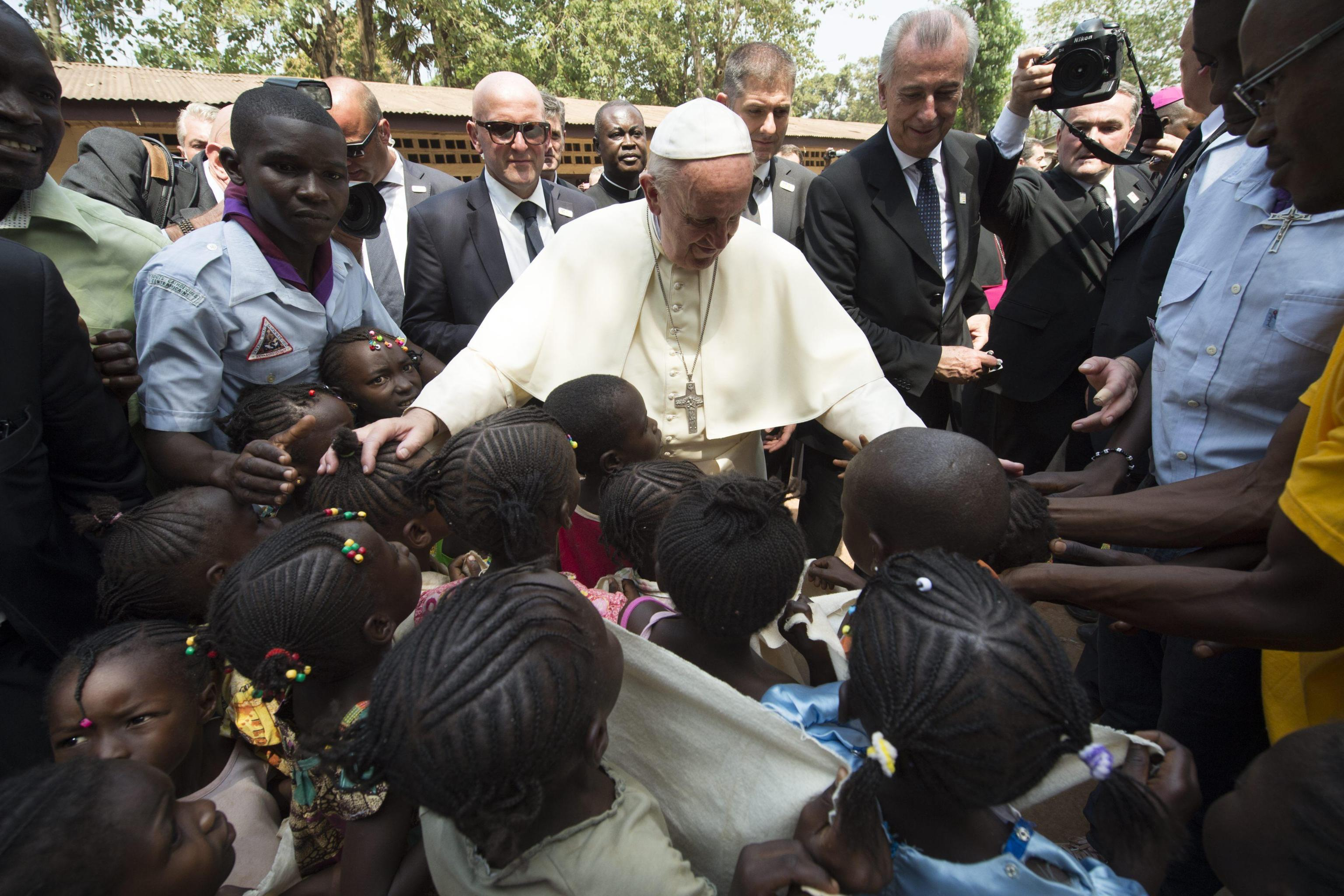 Pope Francis during a visit at a refugee camp in Bangui