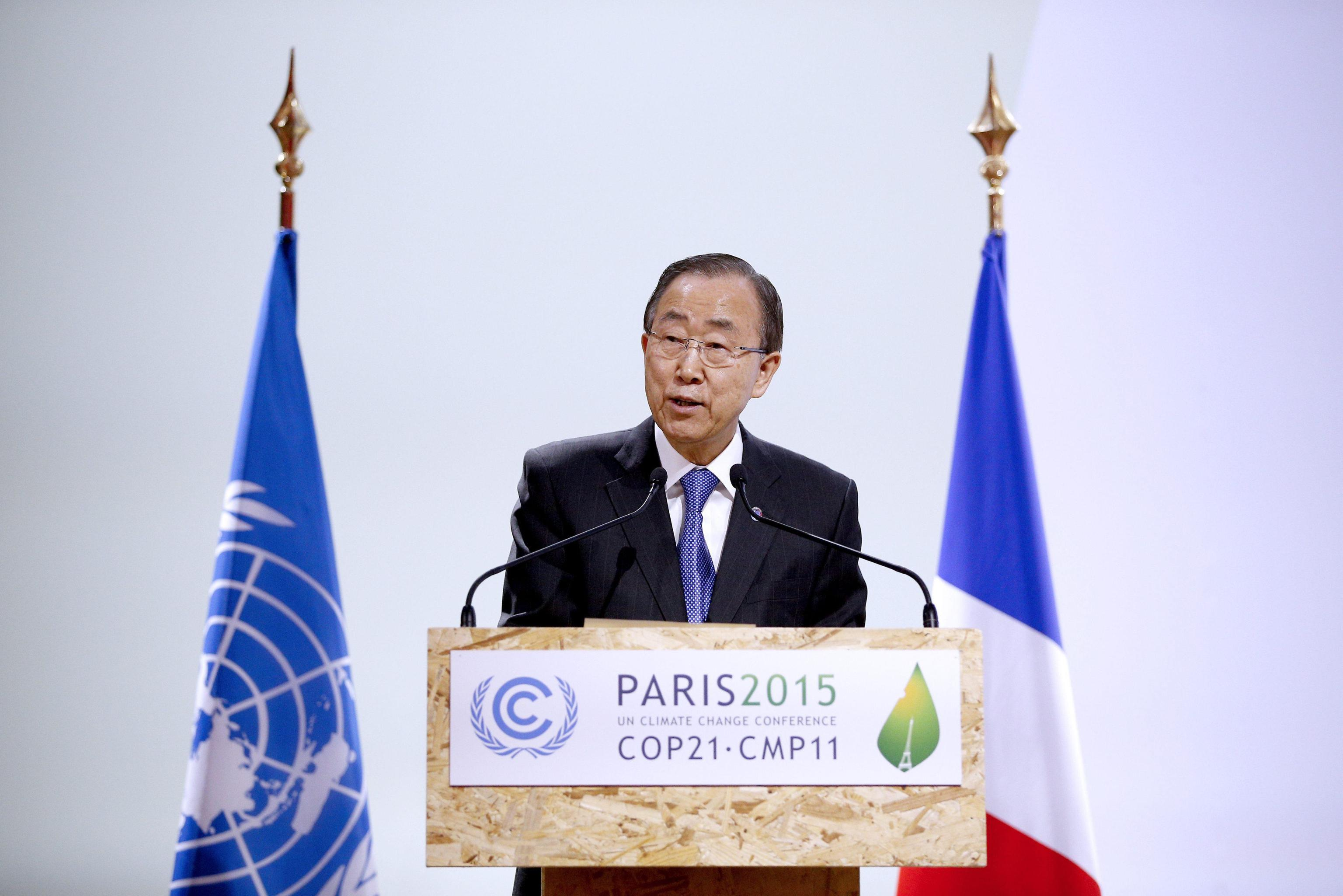 UN Secretary-General Ban Ki-moon delivers a speech during the 'High-Level Segment of COP 21/CMP 11' meeting at the COP21 World Climate Change Conference 2015 in Le Bourget