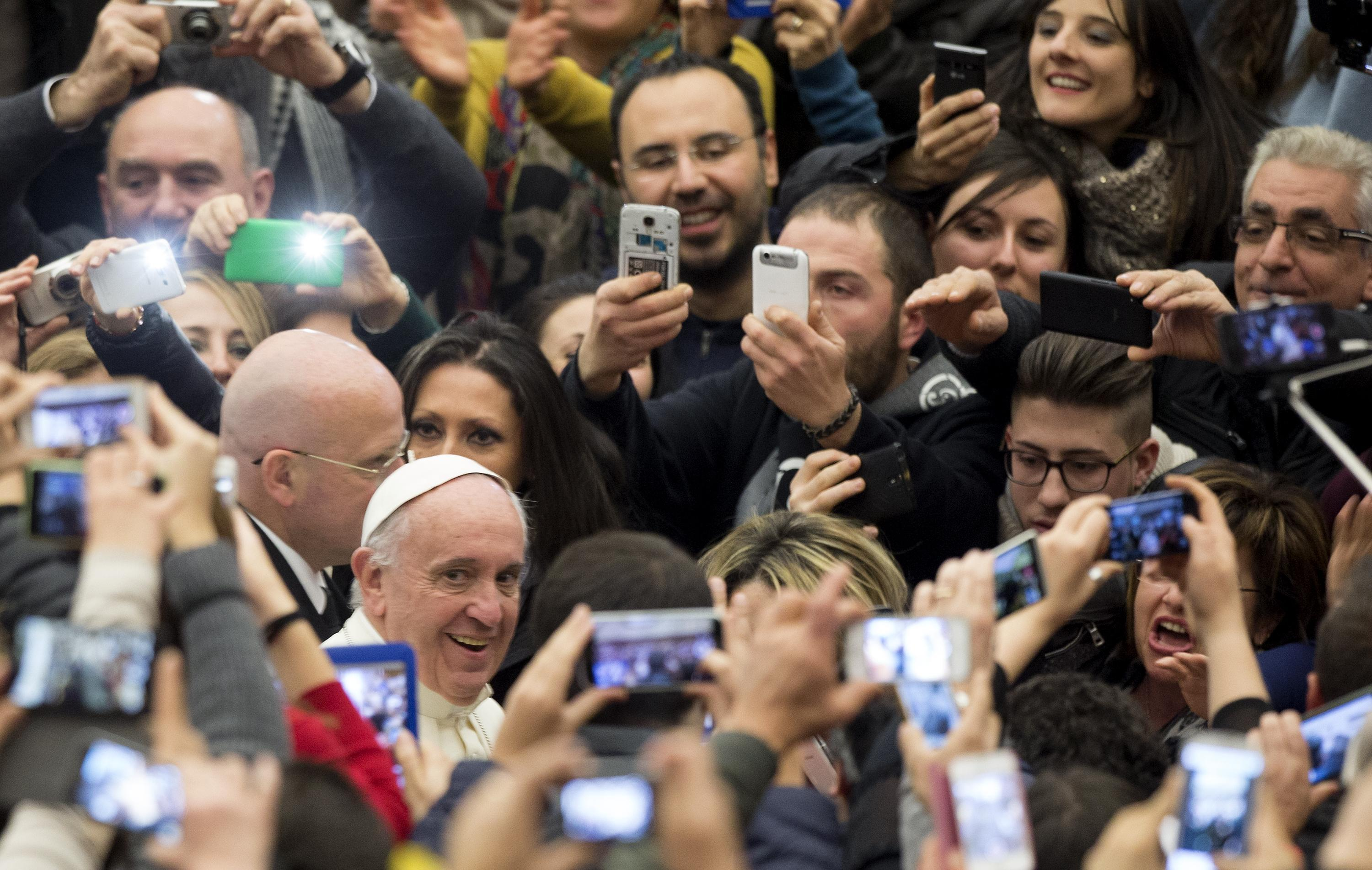 """Pope Francis during an audience with groups of the """"Progetto Policoro"""" of the Italian Episcopal Conference - CEI in Nervi Hall. Vatican City"""