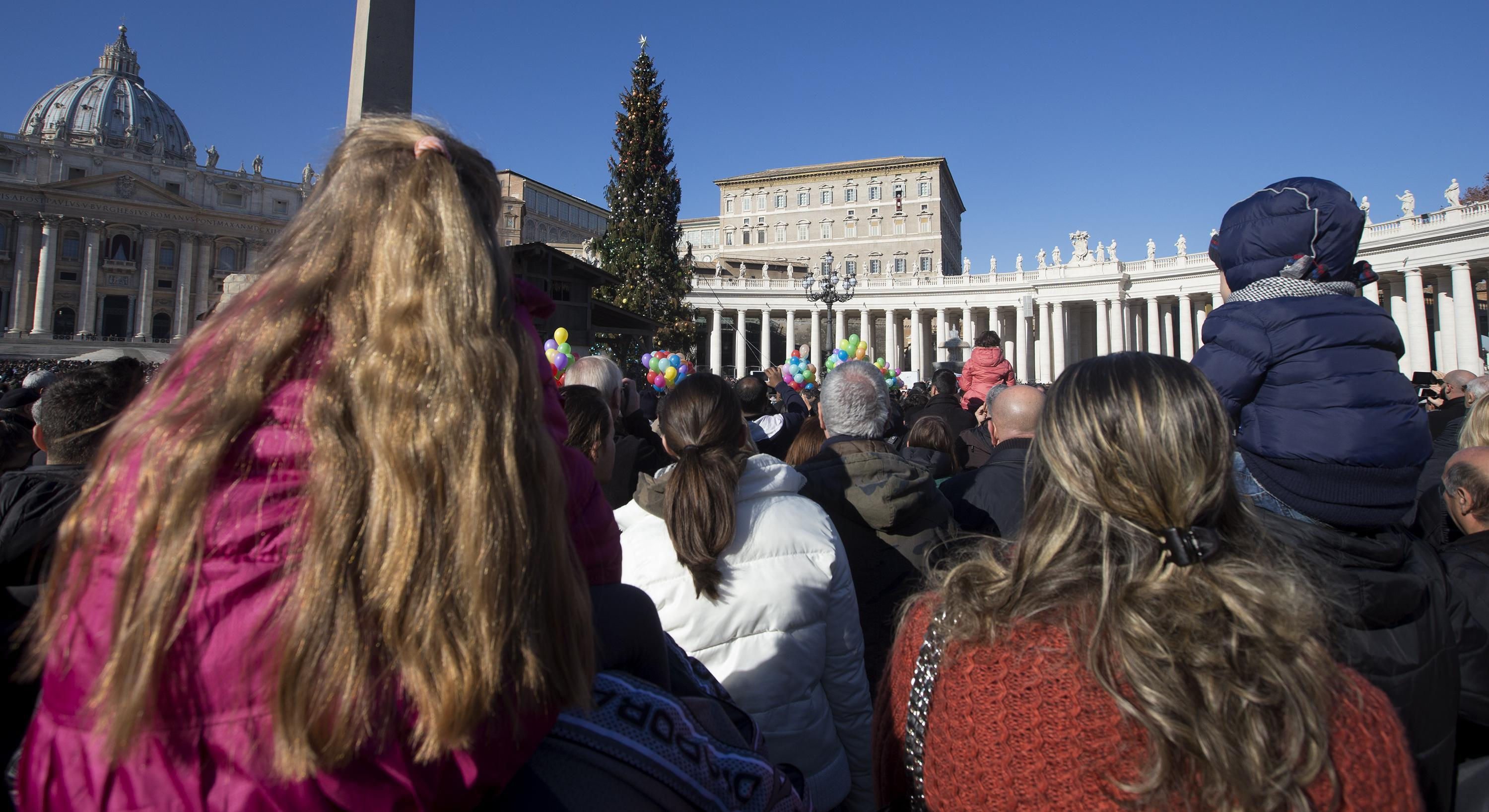 Pilgrims attend the Angelus of Sunday 27th of December 2015