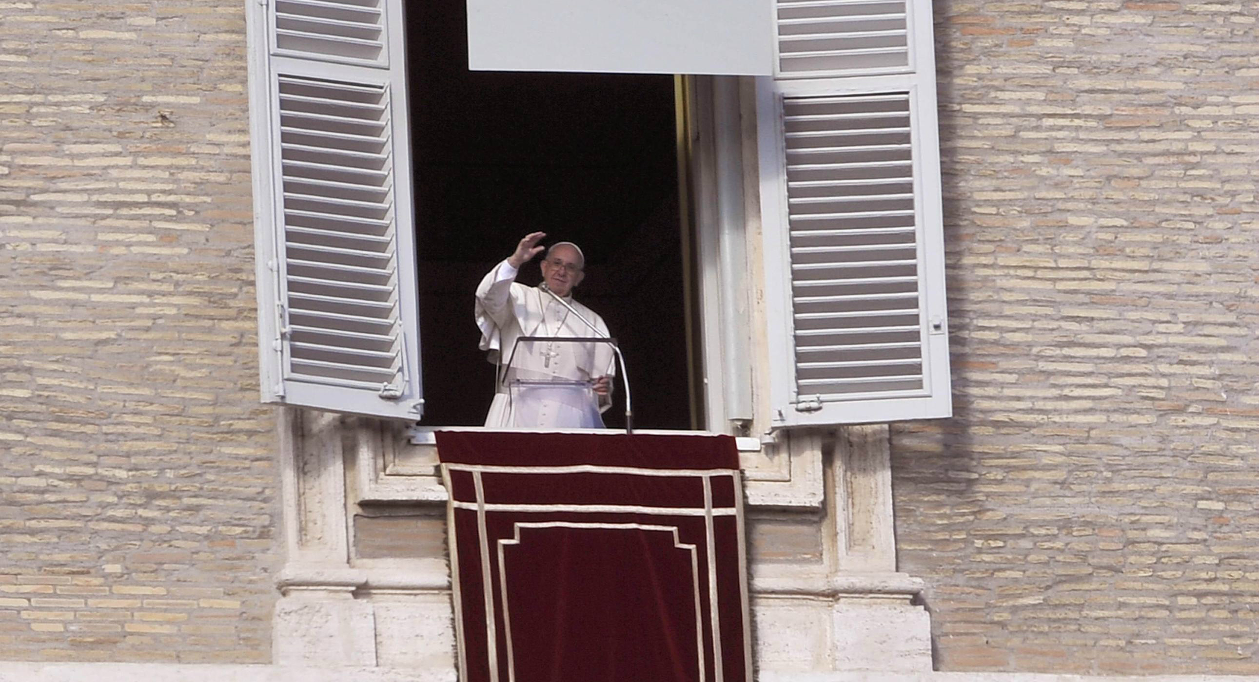 Pope Francis greets faithful during today's Angelus in St. Peter square