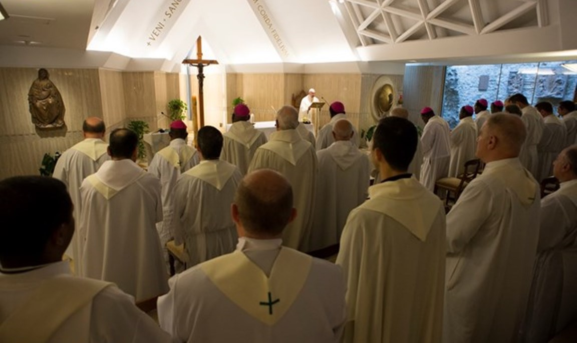 Pope Francis celebrating Mass at Casa Santa Marta - May 15th