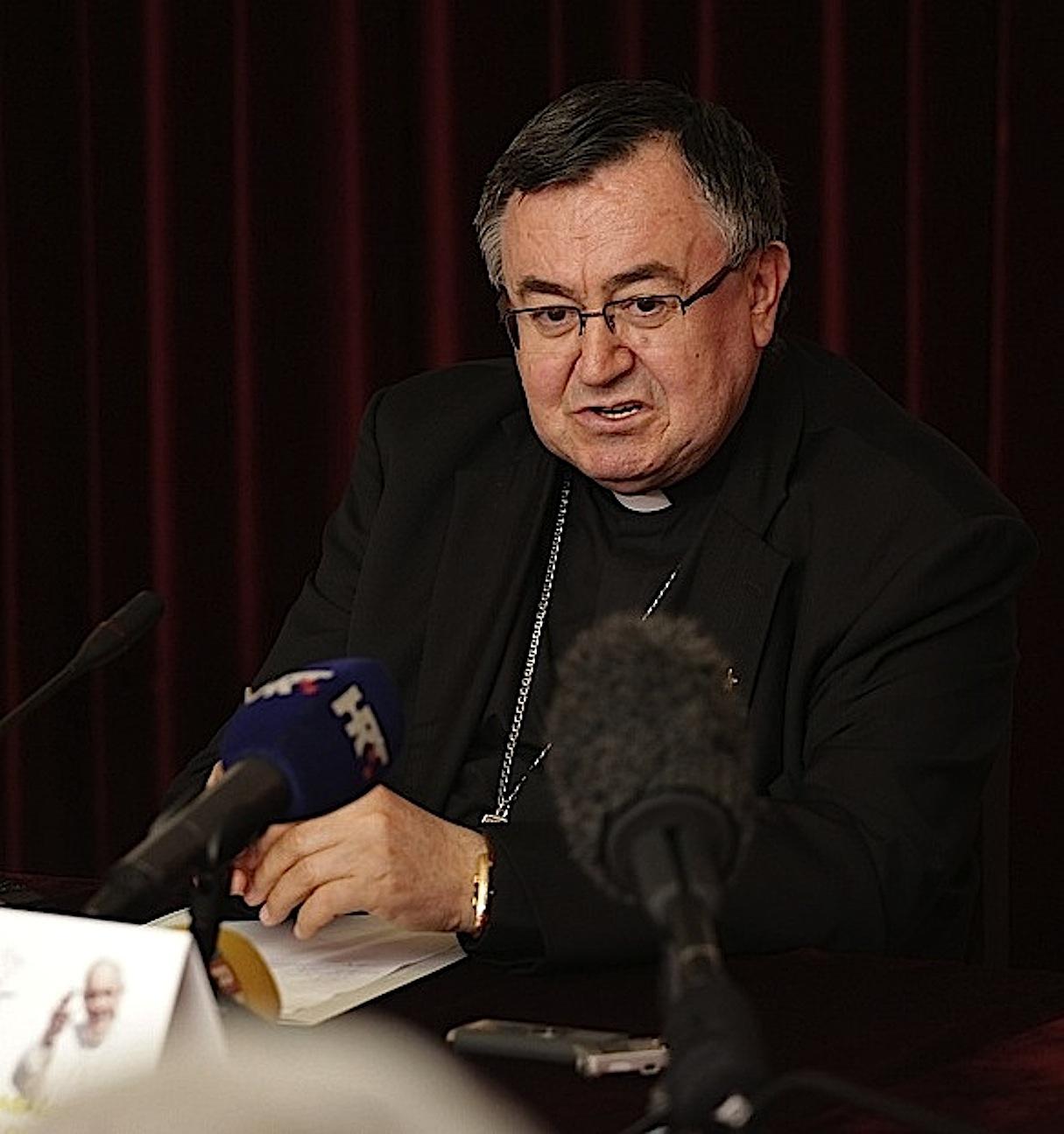 Cardinal Vinko Puljić presenting Pope's visit to Sarajevo and Bosnia and Herzegovina
