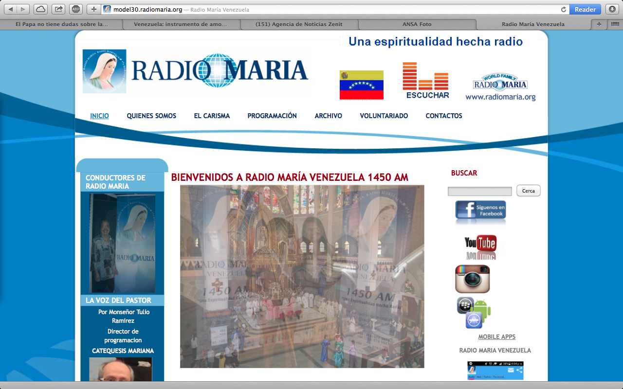 Radio Maria Venezuela web page