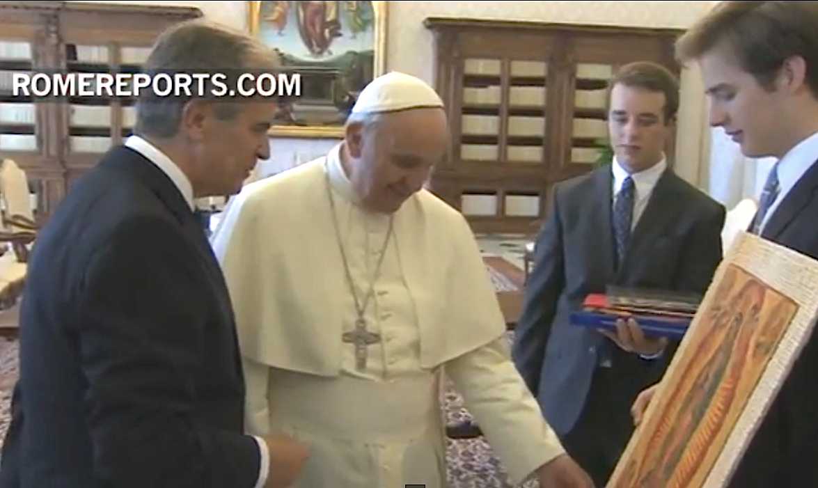 The pope Francis with  Alexander von Sachsen and his family