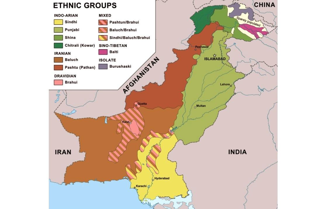 Pakistan, mapa étnico