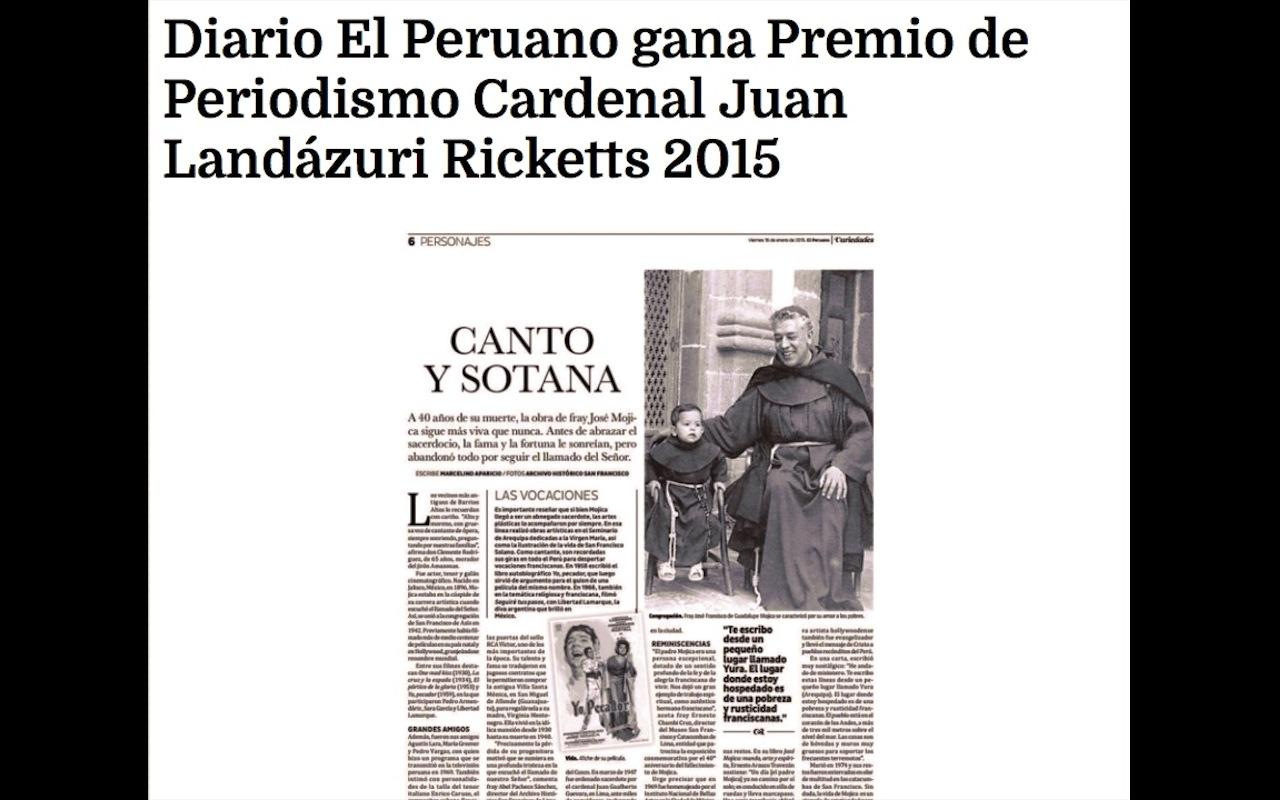 Web of Andina about Award of journalism Cardinal Juan Landázuri Ricketts 2015