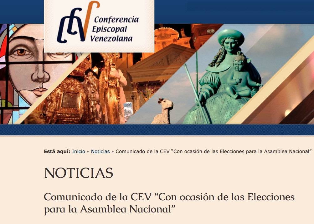 Venezuelan bishops web with a note about the elections of 6 December 2015