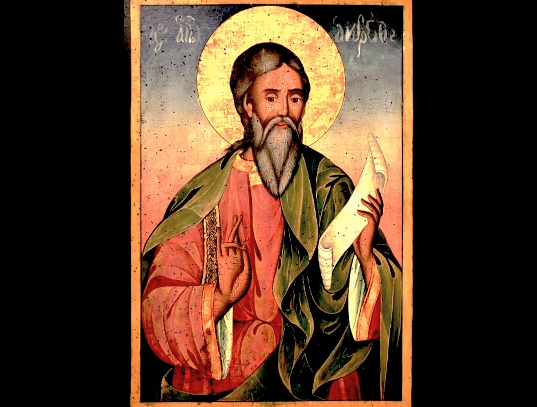 Icon of St. Andrew the Apostle by the Bulgarian iconographer Yoan from Gabrovo. 19th century. Exhibited at Hadzhi Nikoli Inn museum