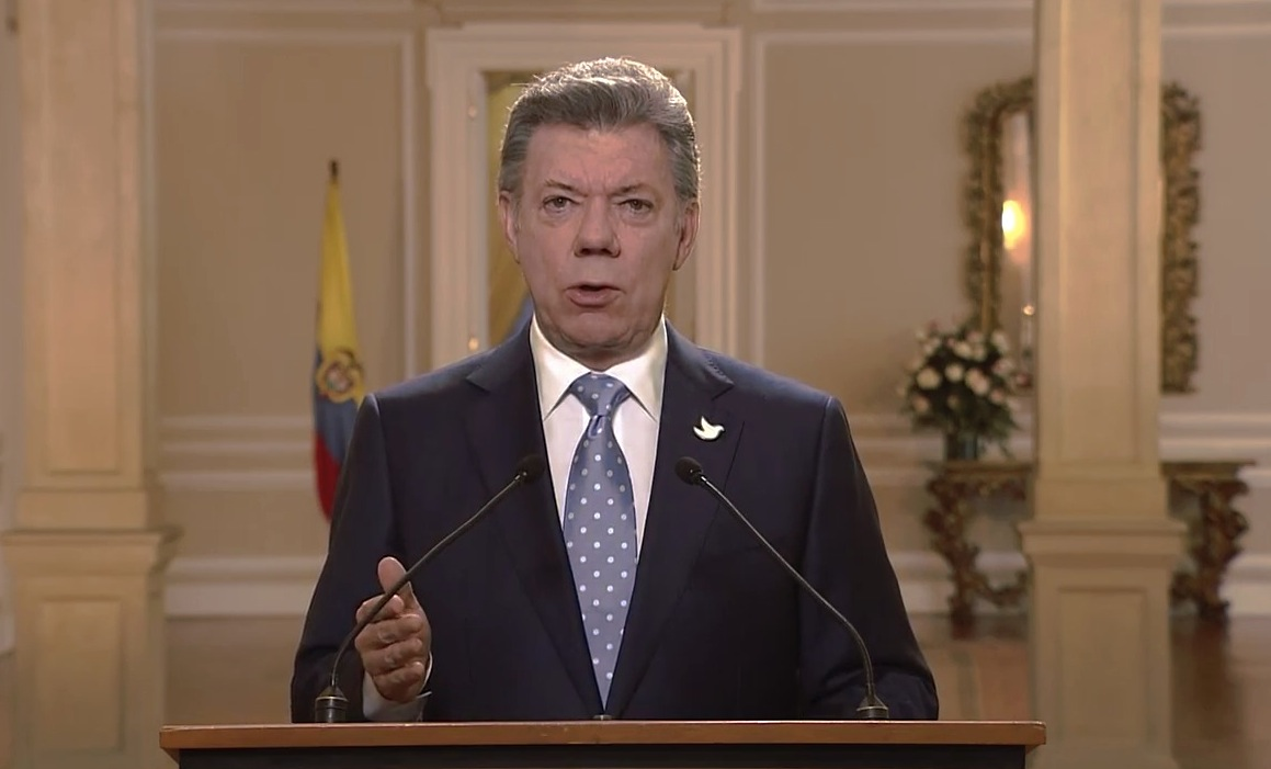 Frame of allocution of President of Colombia Juan Manuel Santos during a message for the Nation - 15 Dic. 2015