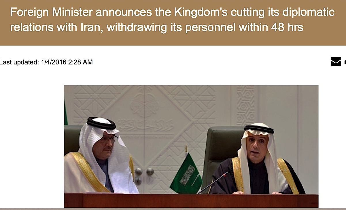 Kingdom of Saudi Arabia's decision breaking off its diplomatic relations with Iran