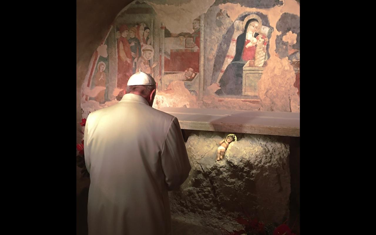 Pope Francis at Greccio. 4 January 2016