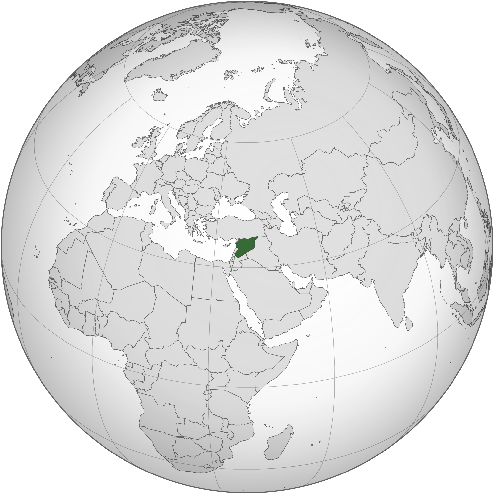 Map of Syria (orthographic projection)