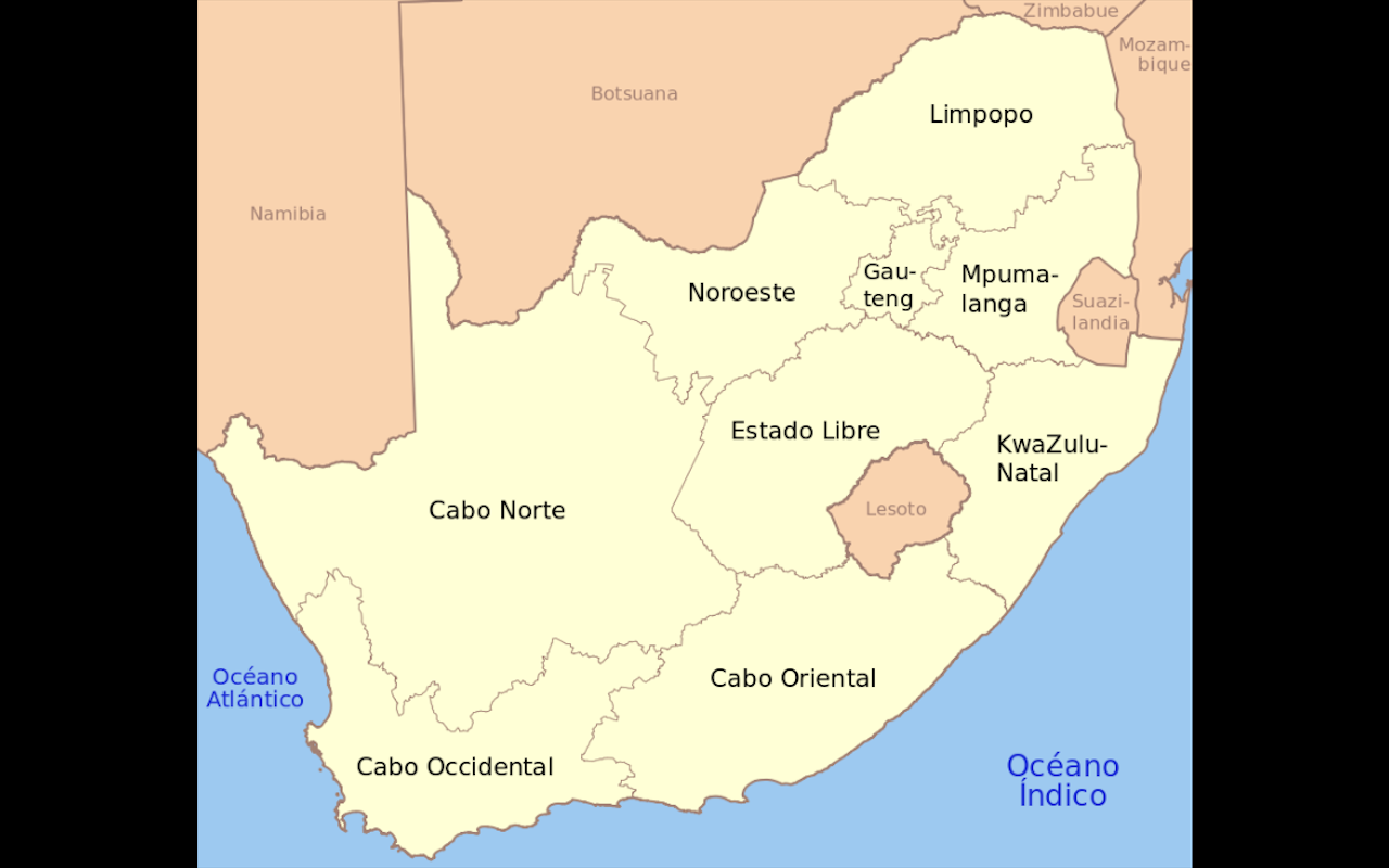 Mapa de Africa del Sur