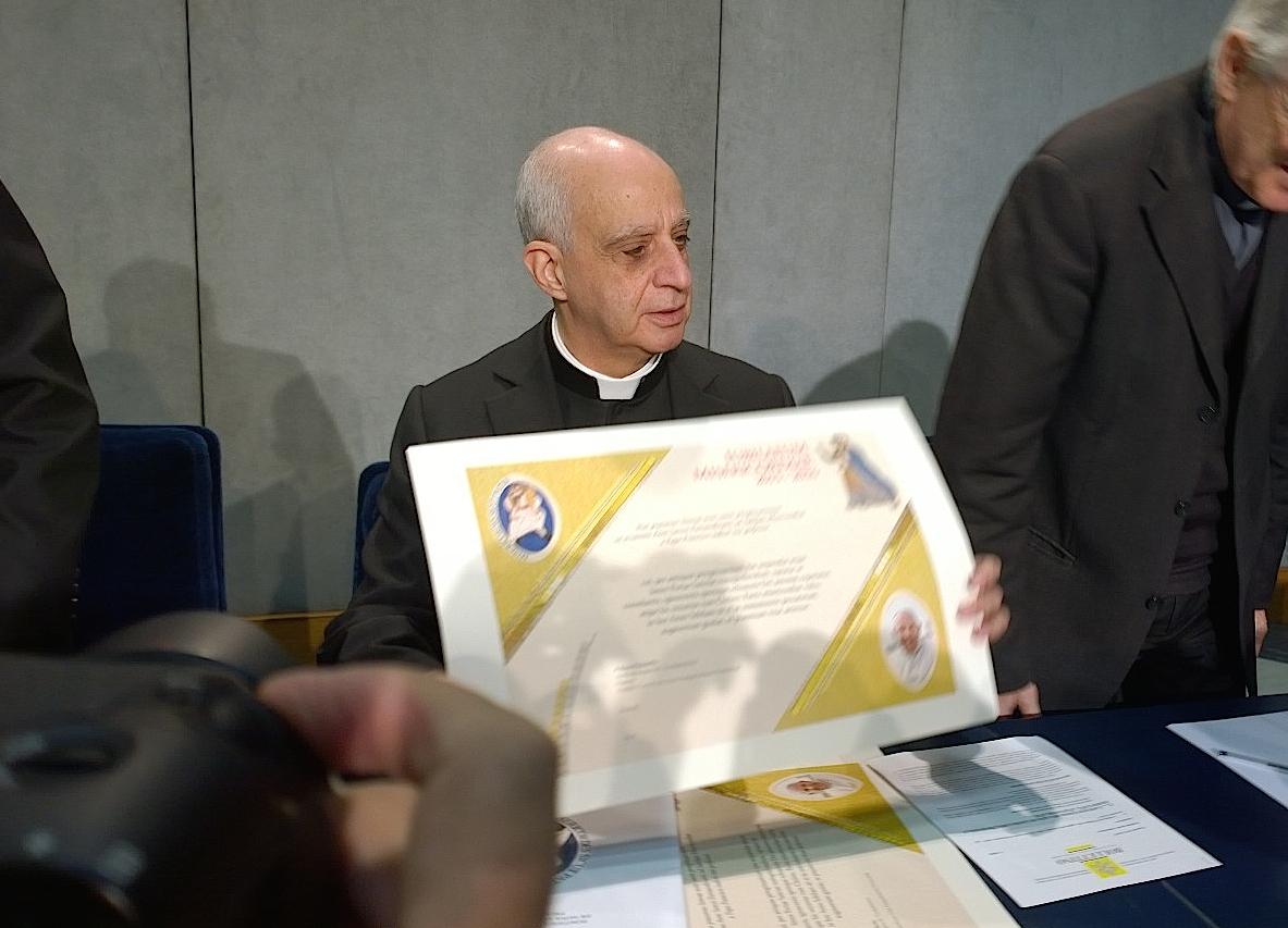 Mons. Rino Fisichella during presentation of the Jubileo of Mercy