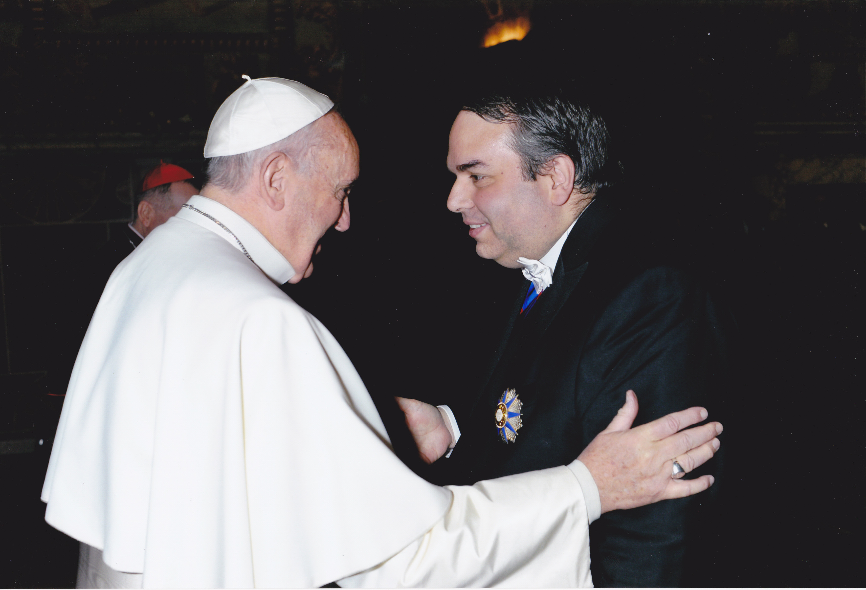 Ambassador of Paraguay at the Saint Siege Esteban Kriskovich with a pope Francis