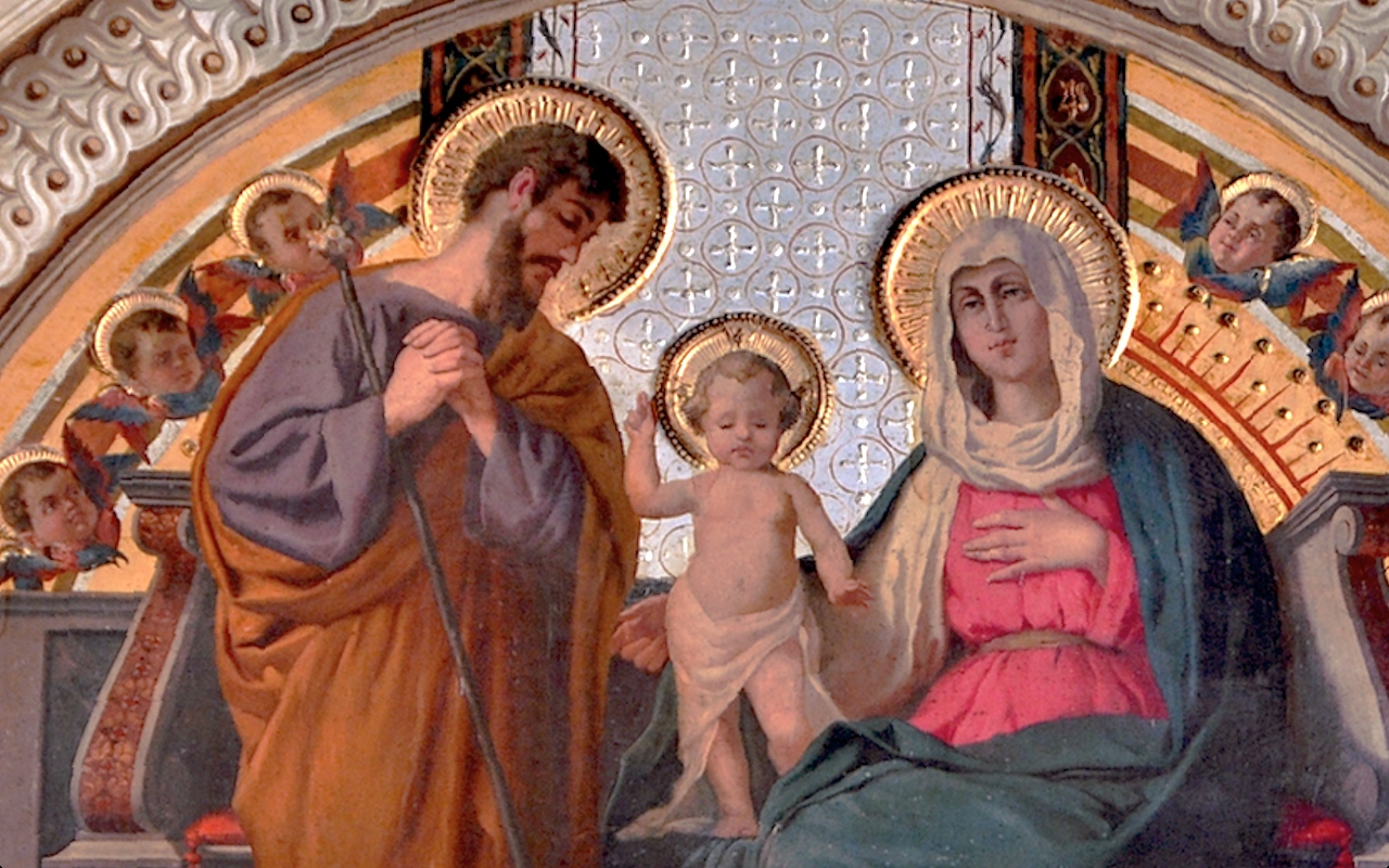 Saint Joseph with Holy Family. Roman church Saint Gioacchino at Pratii
