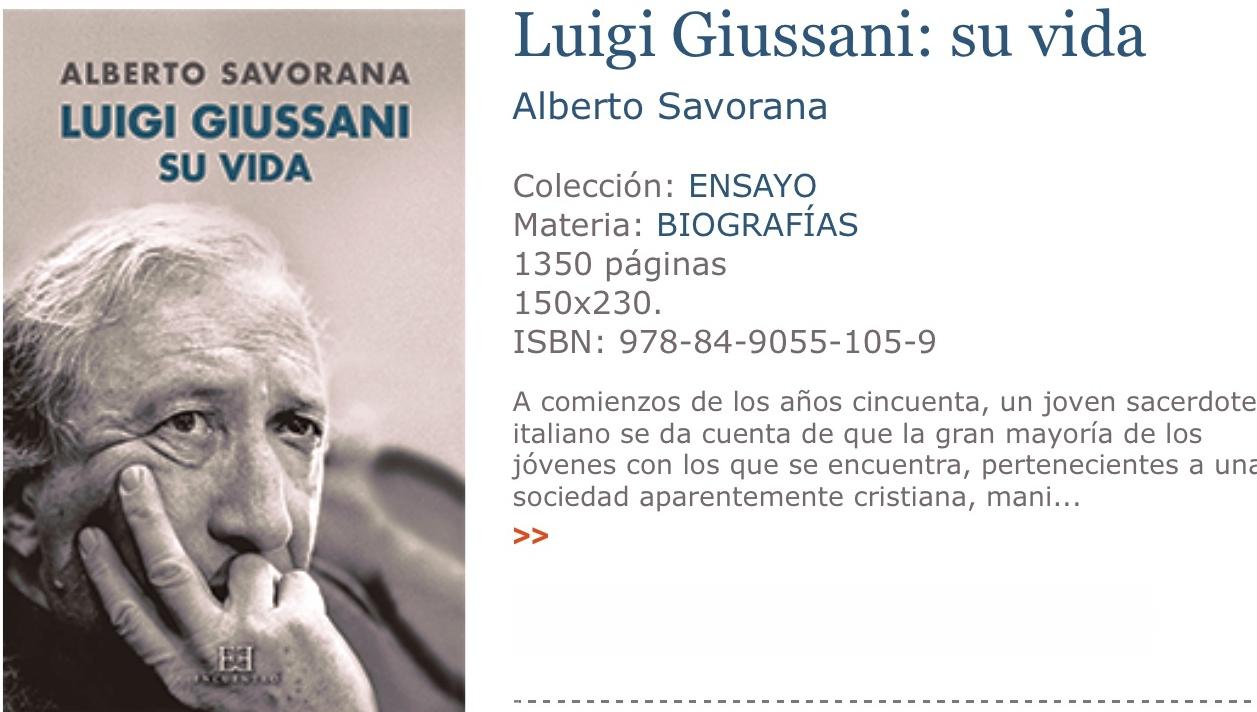 Book with the biografi of Luigi Giussani