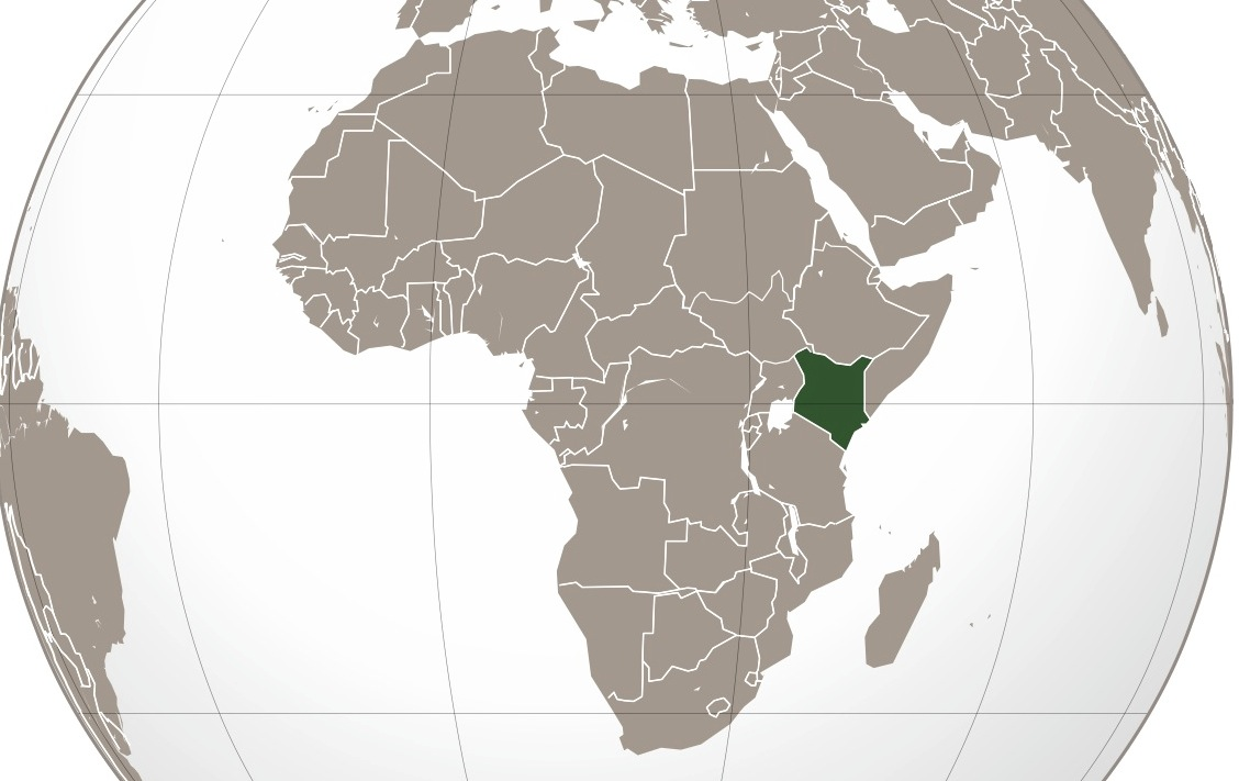 Orthographic projection map of Kenya highlighted in green.