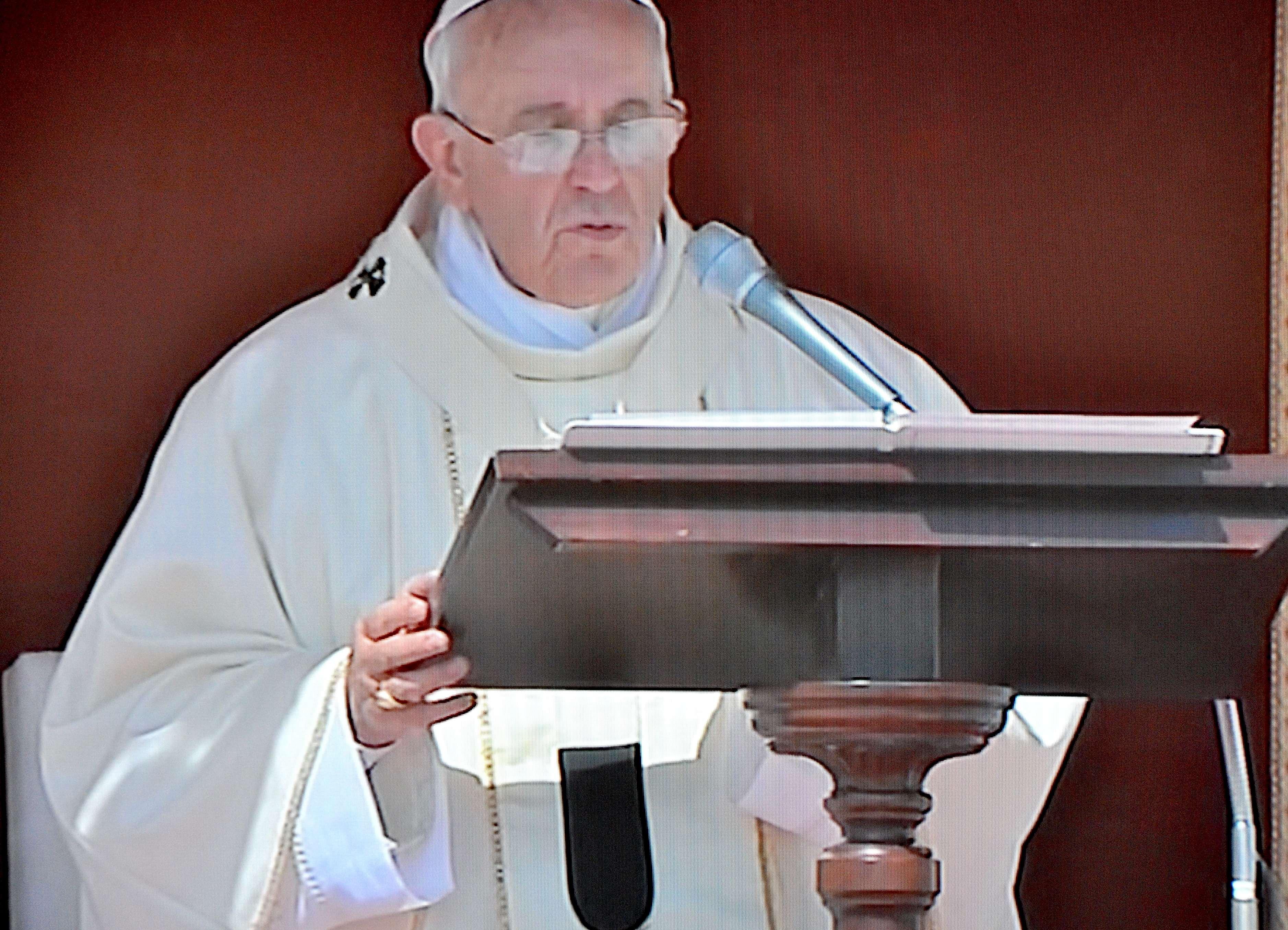 Pope Francis delivering omelia at canonization Mariam Baouardy; María Alfonsina Danil Ghattas
