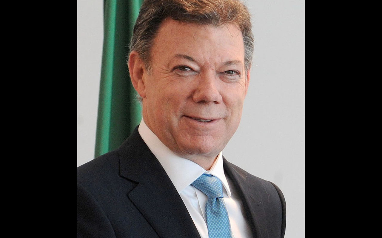 The president of Colombia Juan Manuel Santos during his visit at the palace Planalto of Brasilia April 1 2010