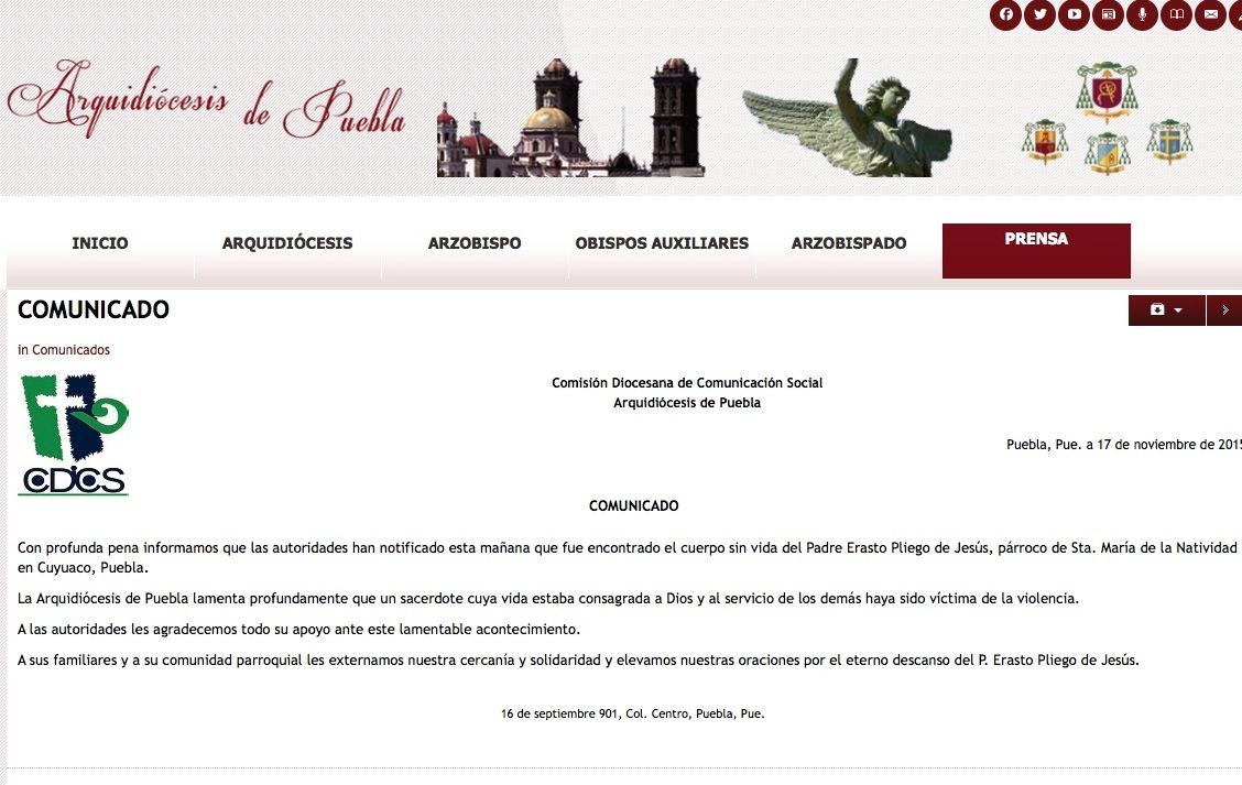 Web of archidiocesi of Puebla