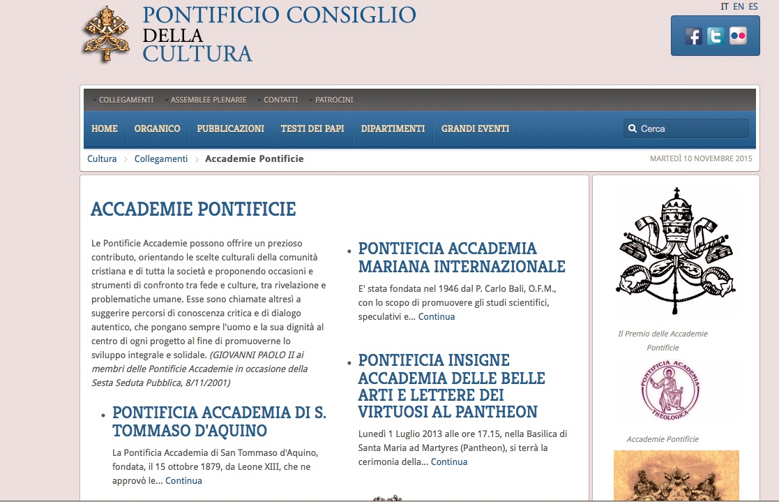 Web of the Pontifical council of the culture