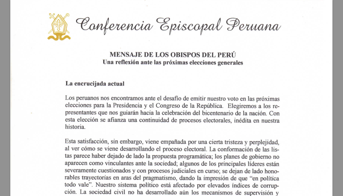 Mensaje de los obispos del Perú. Una reflexión ante las próximas elecciones generales