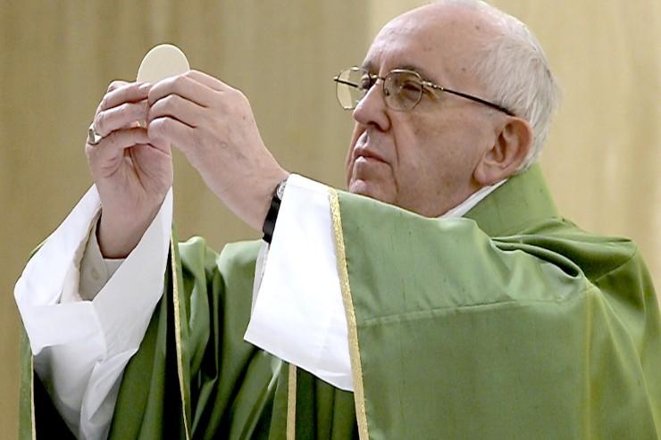 El Santo Padre en la misa de hoy
