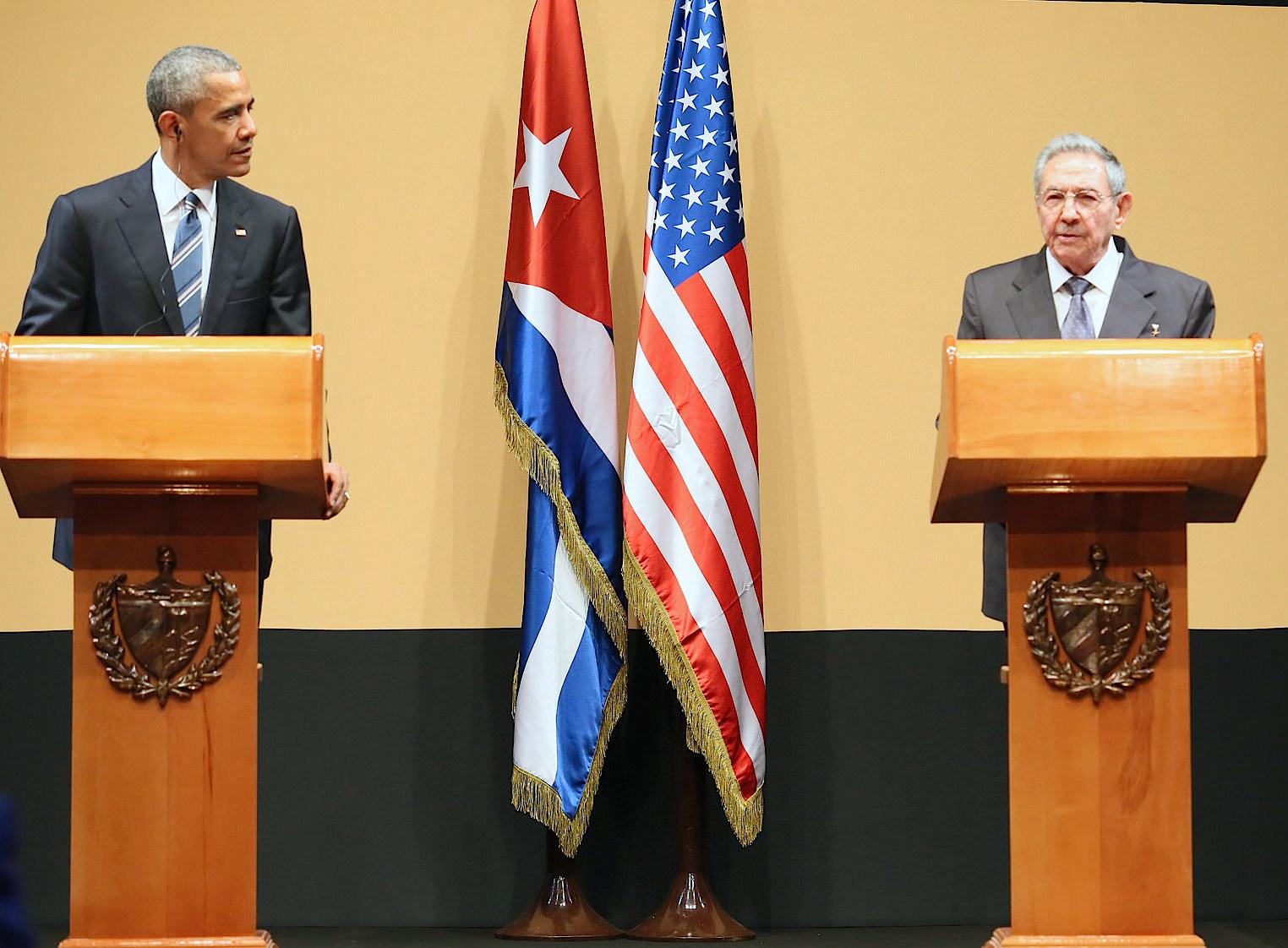 Obama y Castro en el palacio de la Revolución