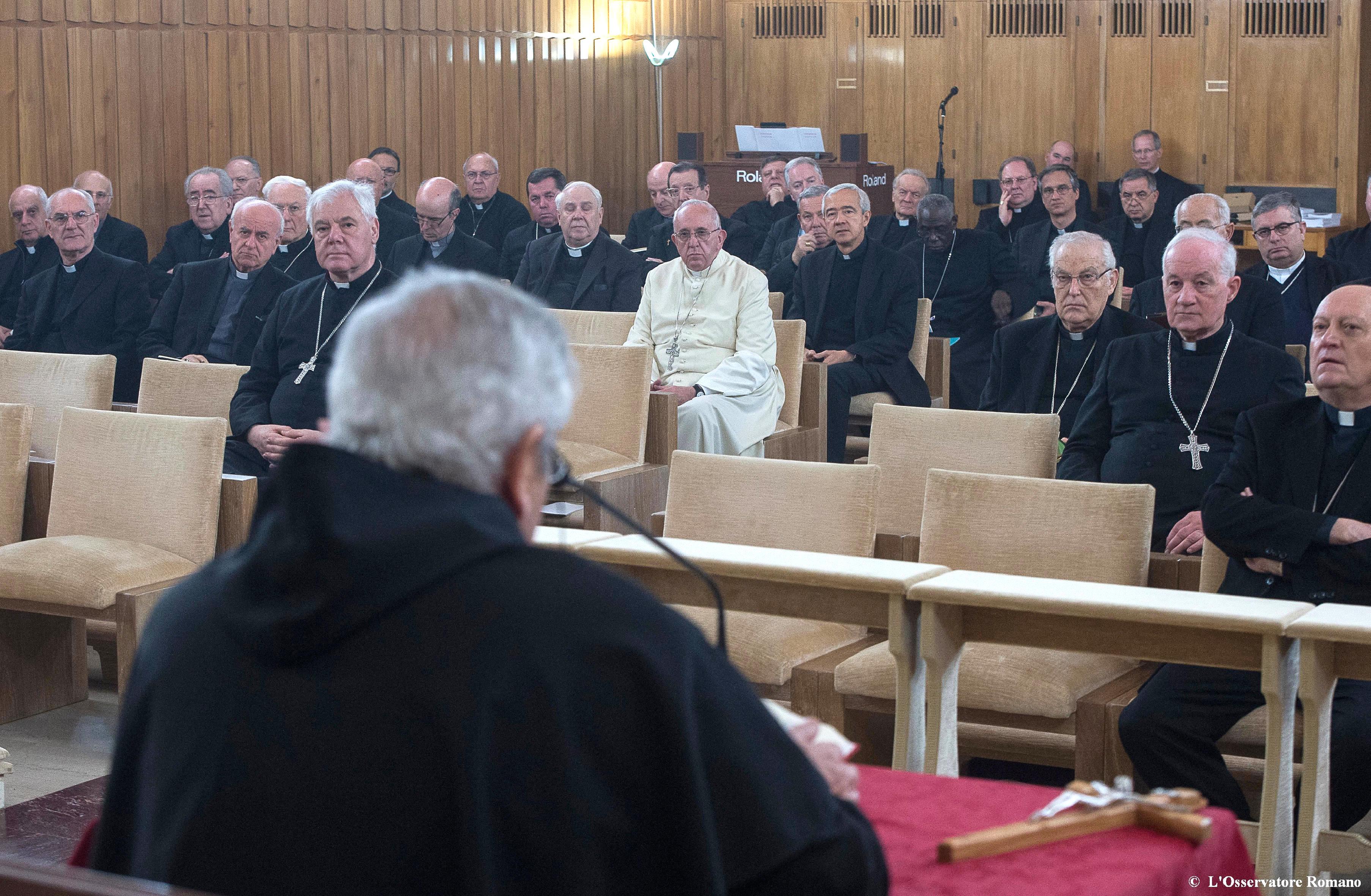 El papa Francisco en el retiro espiritual