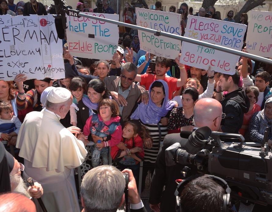 El Papa con los refugiados de Moria
