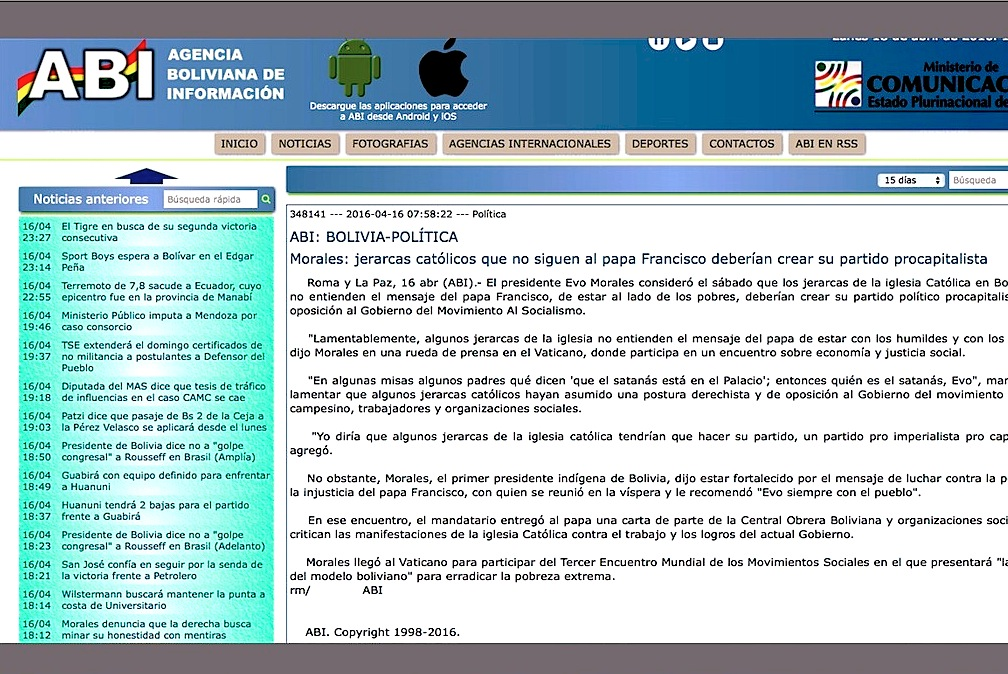 El cable de la Agencia Boliviana de Información