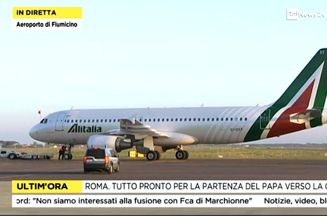 El vuelo de Alitalia hacia Lesbos, transmitida en directa por Rai News 24